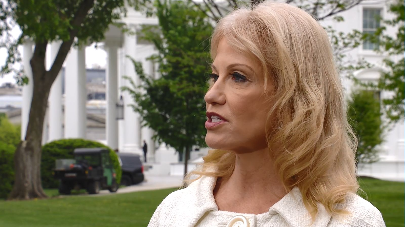 "White House counselor Kellyanne Conway is interviewed by Eric Bolling on ""America This Week,"" Wednesday, May 1, 2019. (SBG)"