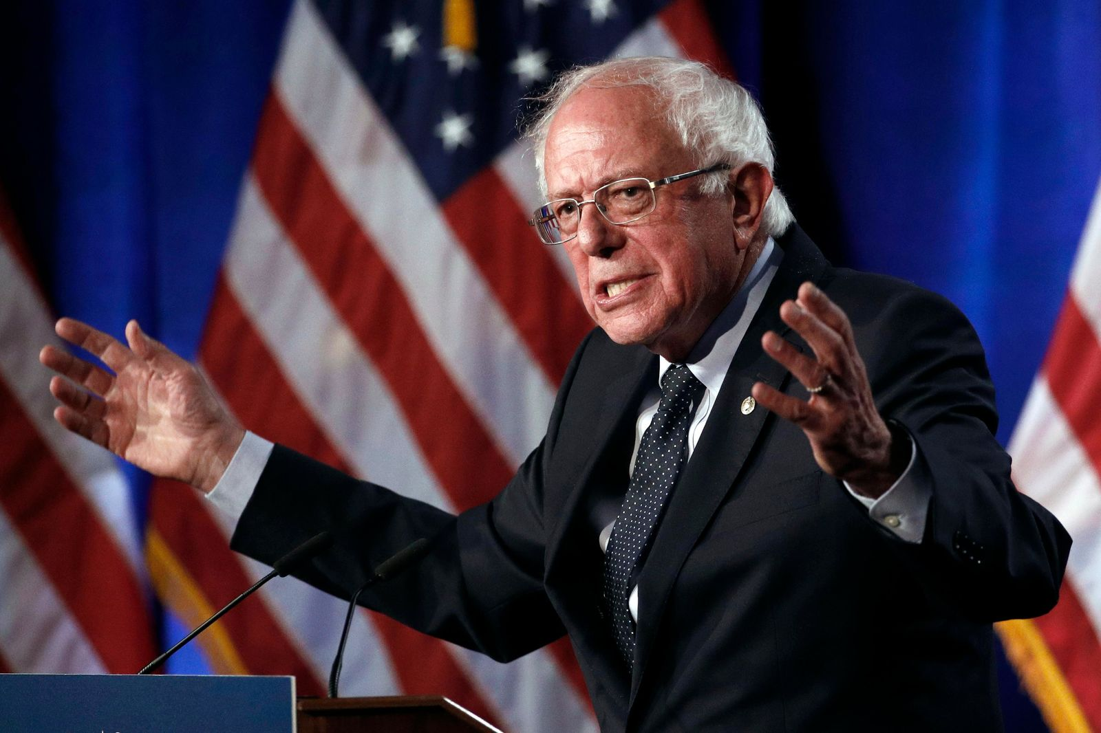 "FILE - In this July 17, 2019 file photo, Democratic presidential candidate, Sen. Bernie Sanders, I-Vt., speaks about his ""Medicare{ } (AP Photo/Patrick Semansky)"