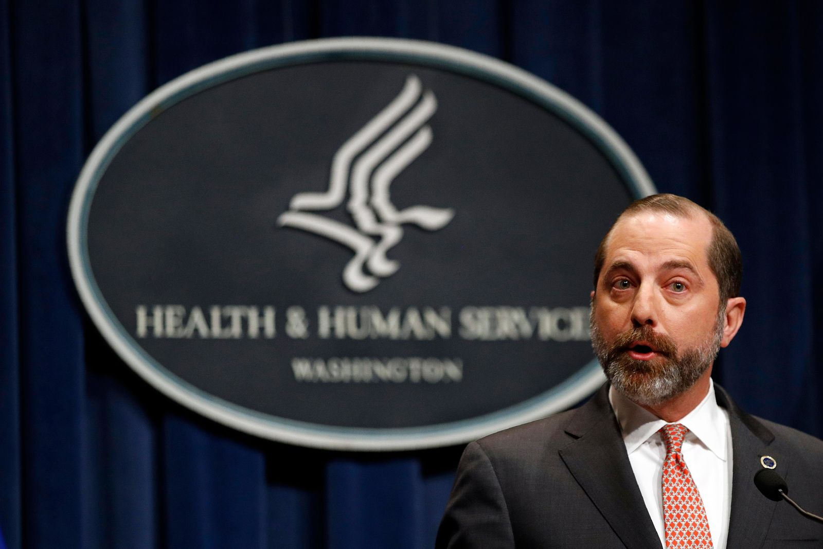 Health and Human Services Secretary Alex Azar speaks at a news conference about the federal government's response to a virus outbreak originating in China, Tuesday, Jan. 28, 2020, in Washington. (AP Photo/Patrick Semansky)