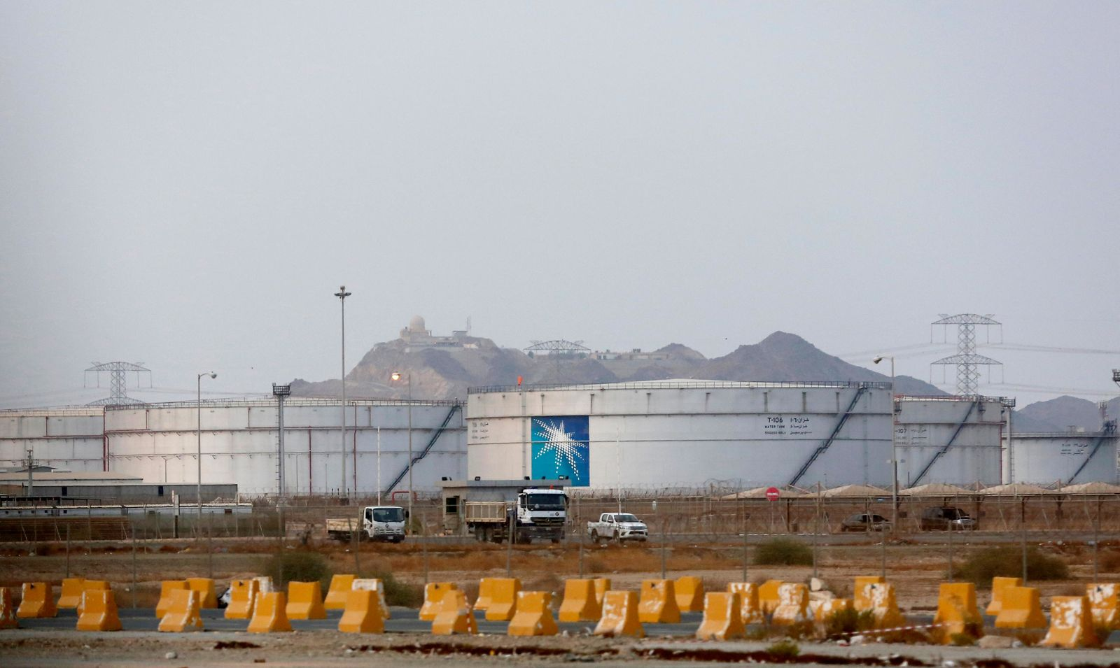 Storage tanks are seen at the North Jiddah bulk plant, an Aramco oil facility, in Jiddah, Saudi Arabia, Sunday, Sept. 15, 2019.{ } (AP Photo/Amr Nabil)