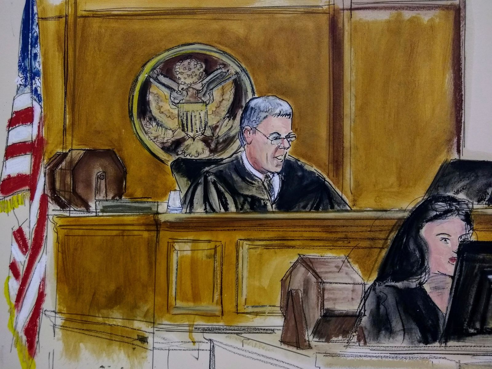 In this courtroom artist's sketch, Magistrate Judge Stewart Aaron sits at the bench during an initial court appearance of David Correia Wednesday Oct. 16, 2019 in New York. Correia, 44, accused of conspiring with associates of Rudy Giuliani to make illegal campaign contributions, made a brief appearance before a federal judge in Manhattan, who ordered him released on a $250,000 bond. (AP Photo/Elizabeth Williams)