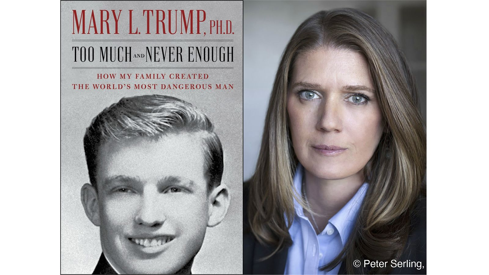 "<p>This combination photo shows the cover art for ""Too Much and Never Enough: How My Family Created the World's Most Dangerous Man"", left, and a portrait of author Mary L. Trump, Ph.D. (Simon & Schuster, left, and Peter Serling/Simon & Schuster via AP)</p>"