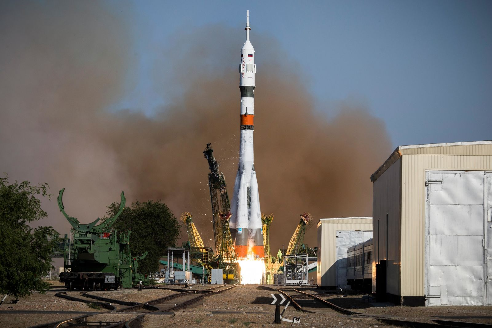 CORRECTING ROCKET NAME AND ADDING ROBOT DETAILS - In this photo taken on Thursday, Aug. 22, 2019, and distributed by Roscosmos Space Agency Press Service, a Soyuz capsule is launched by a new Soyuz 2.1a rocket from the launch pad at Russia's space facility in Baikonur, Kazakhstan.{ } (ISS). Roscosmos Space Agency Press Service photo via AP)