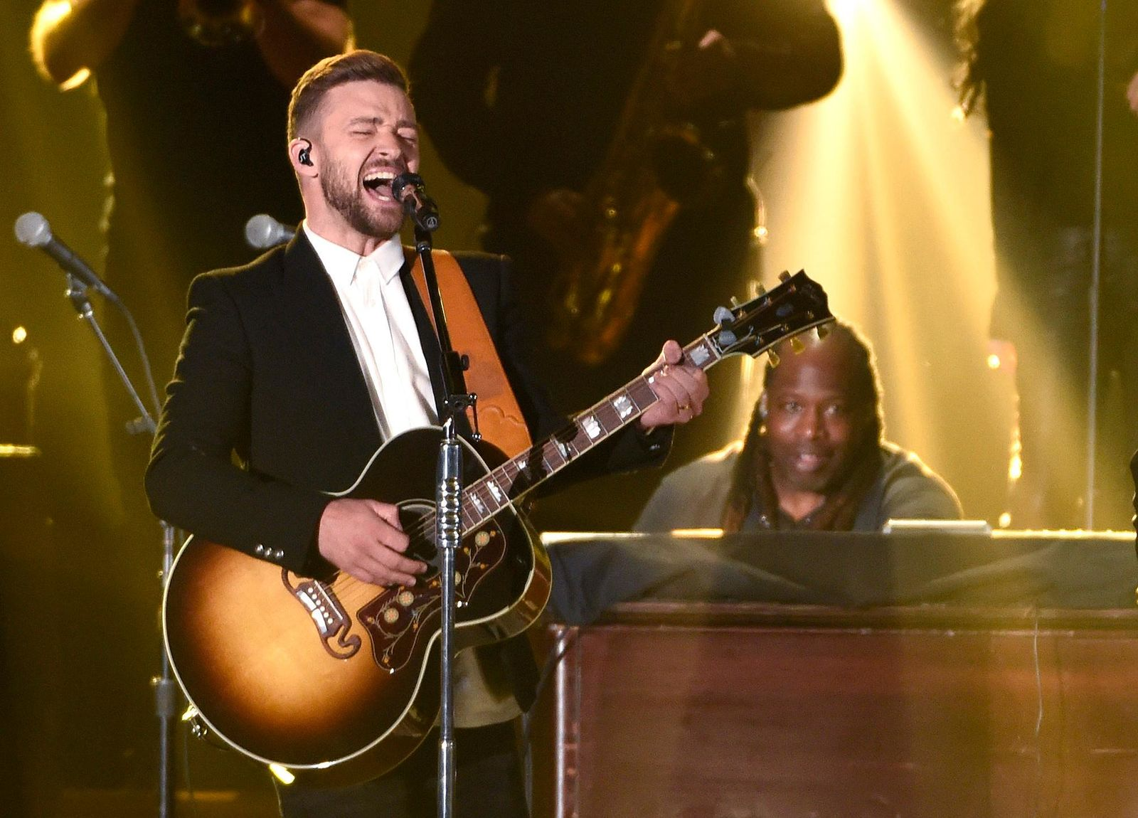 FILE - In this Nov. 4, 2015 file photo, Justin Timberlake performs at the 49th annual CMA Awards in Nashville, Tenn. (Photo by Chris Pizzello/Invision/AP, File)