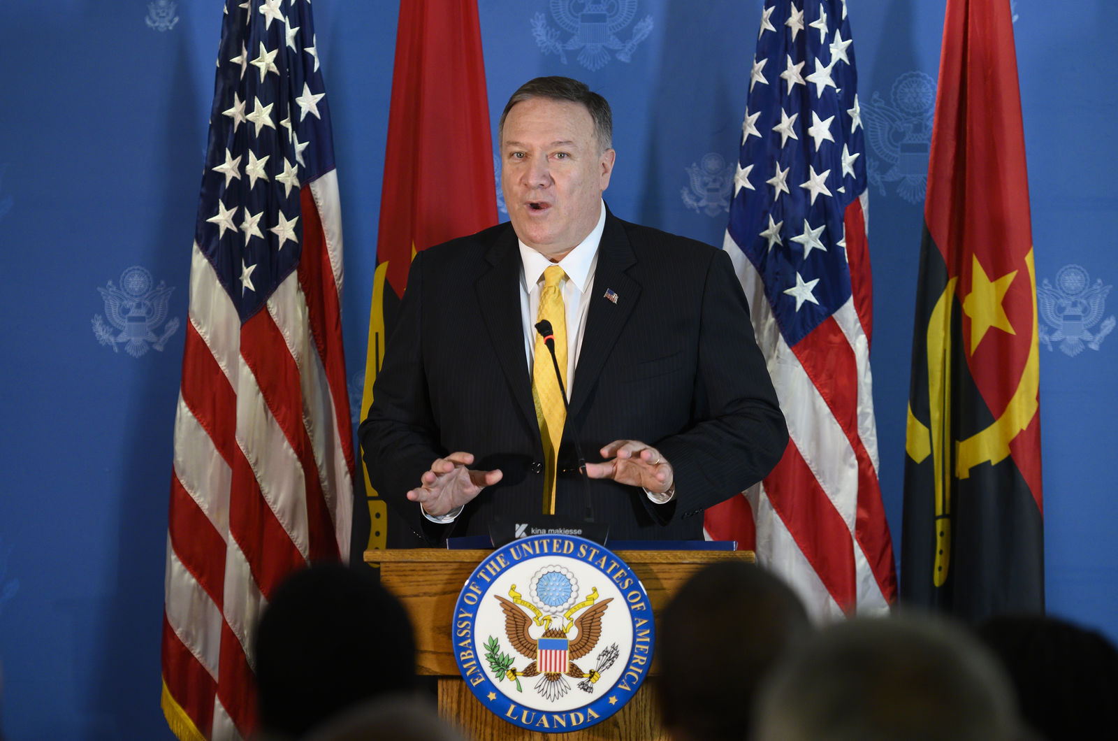 US Secretary of State Mike Pompeo speaks at a business leaders reception at the Museu de Moeda in Luanda, Angola, Monday Feb. 17, 2020. (Andrew Caballero-Reynolds/Pool via AP)