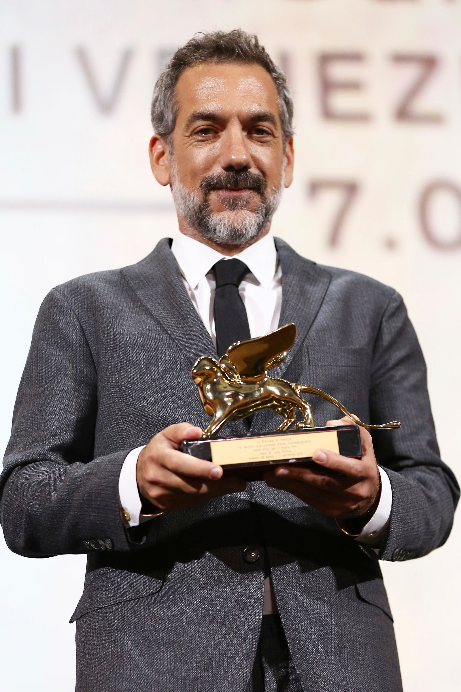 Director Todd Phillips holds the Golden Lion for Best Film for 'Joker' at the closing ceremony of the 76th edition of the Venice Film Festival, Venice, Italy, Saturday, Sept. 7, 2019. (Photo by Joel C Ryan/Invision/AP)