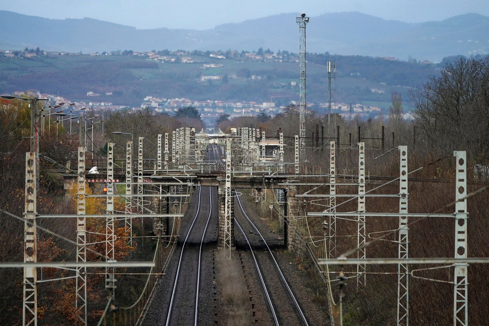 Rail tracks are pictured during a railway strike at the Saint Germain au Mont d'Or train station, around Lyon, central France, Monday, Dec. 9, 2019.{ } (AP Photo/Laurent Cipriani)