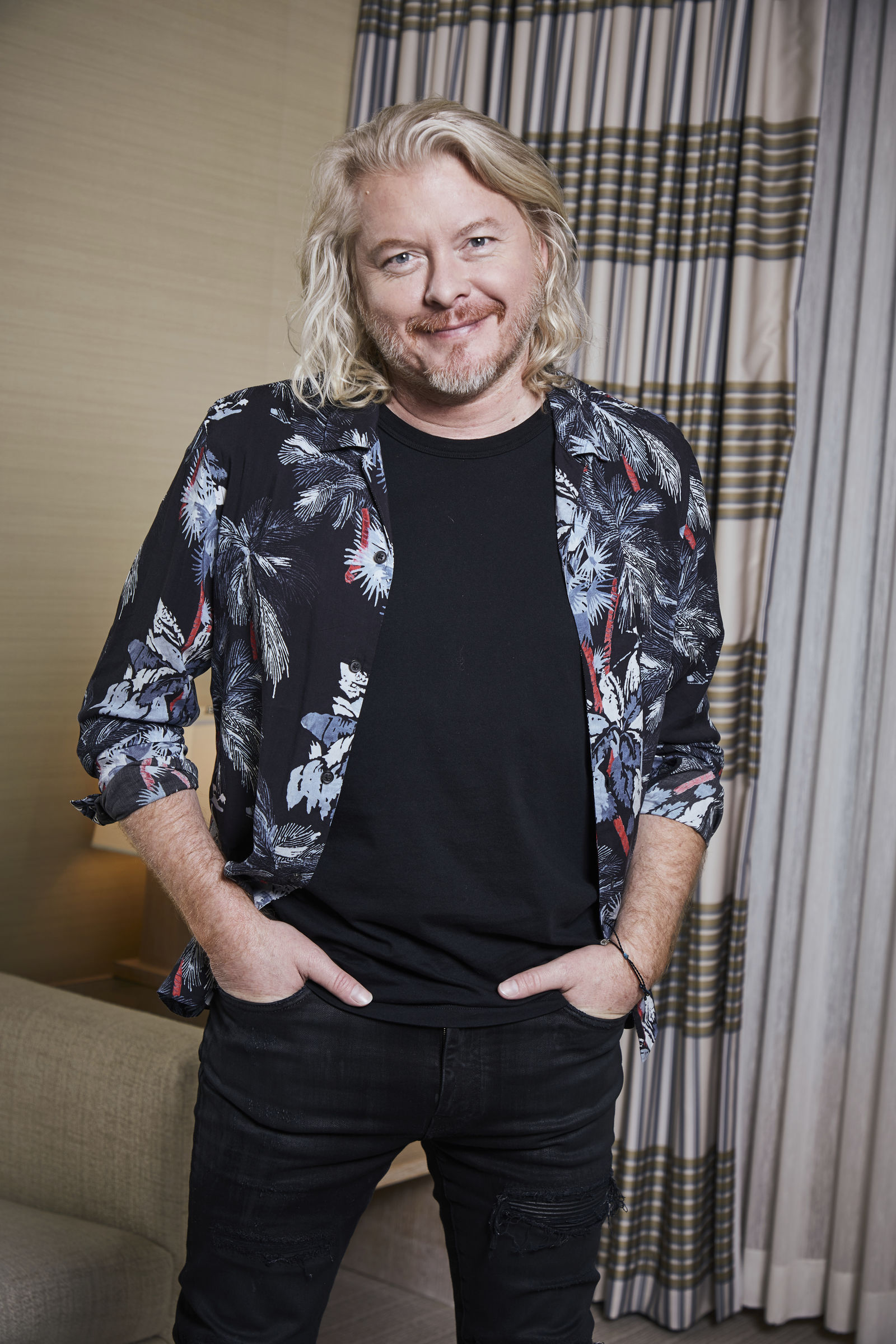 "This Jan. 13, 2020 photo shows Philip Sweet, a member of the country group Little Big Town, posing for a portrait in New York to promote the band's new album ""Nightfall,"" out on Friday. (Photo by Matt Licari/Invision/AP)"