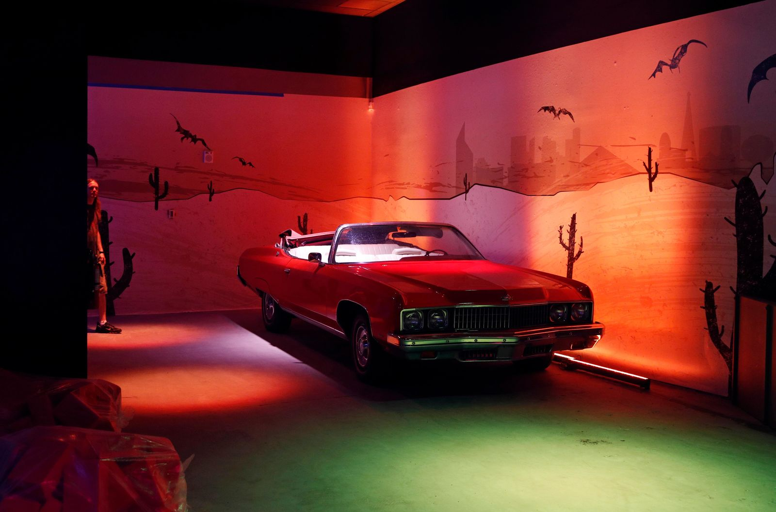 In this Tuesday, Sept. 18, 2018 photo, a Chevrolet Caprice owned by Hunter S. Thompson is on display at the Cannabition cannabis museum in Las Vegas. (AP Photo/John Locher)