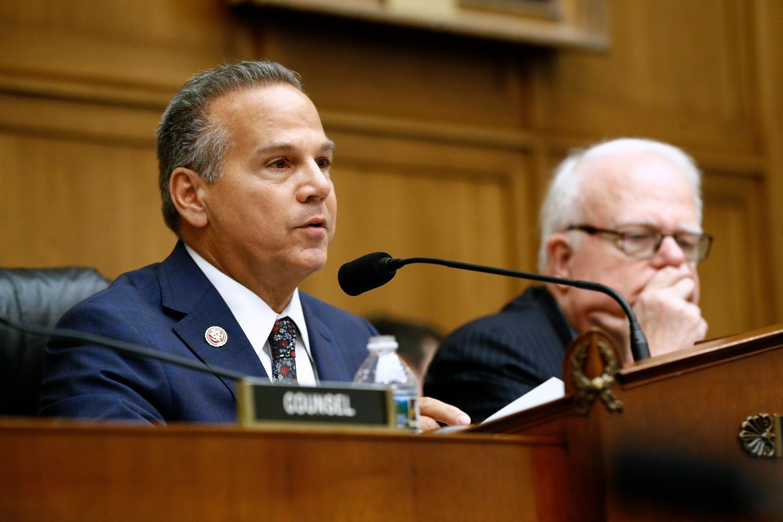 Rep. David Cicilline, D-R.I., left, chair of the House Judiciary antitrust subcommittee, speaks alongside ranking member, Rep. Jim Sensenbrenner, R-Wisc., during a House Judiciary subcommittee hearing with representatives from major tech companies, Tuesday, July 16, 2019, on Capitol Hill in Washington. (AP Photo/Patrick Semansky)