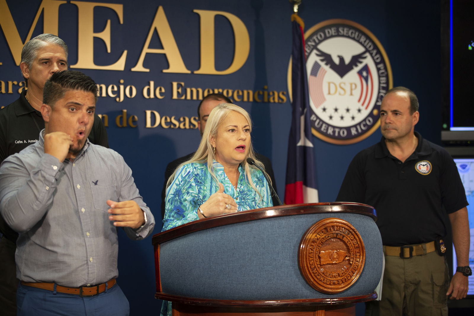 Puerto Rico Gov. Wanda Vazquez speaks during a press conference in San Juan, Puerto Rico, Wednesday, Aug. 28, 2019.{ } (AP Photo/Gianfranco Gaglione)