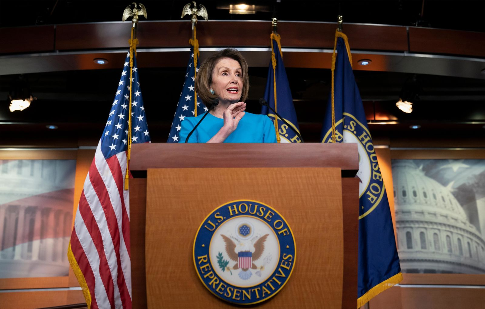 In this May 16, 2019, photo, House Speaker Nancy Pelosi of Calif., speaks at the Capitol in Washington. (AP Photo/J. Scott Applewhite)