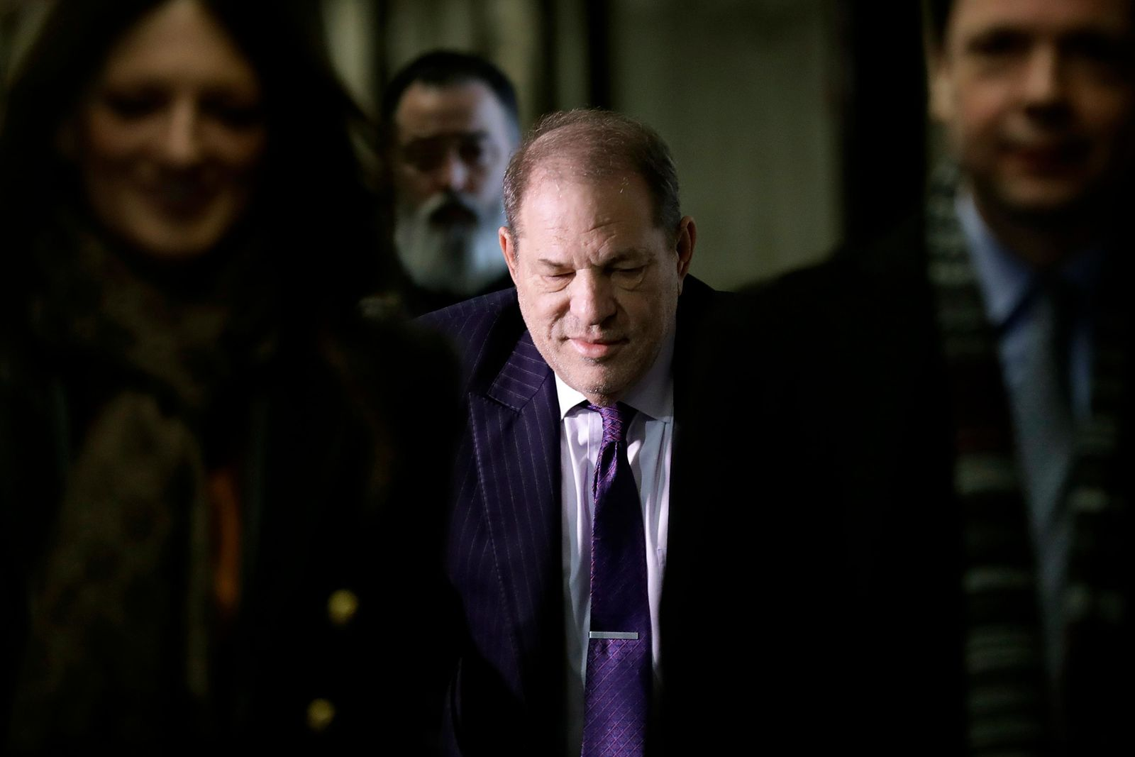 Harvey Weinstein arrives at a Manhattan courthouse as jury deliberations continue in his rape trial, Wednesday, Feb. 19, 2020, in New York. (AP Photo/Seth Wenig)