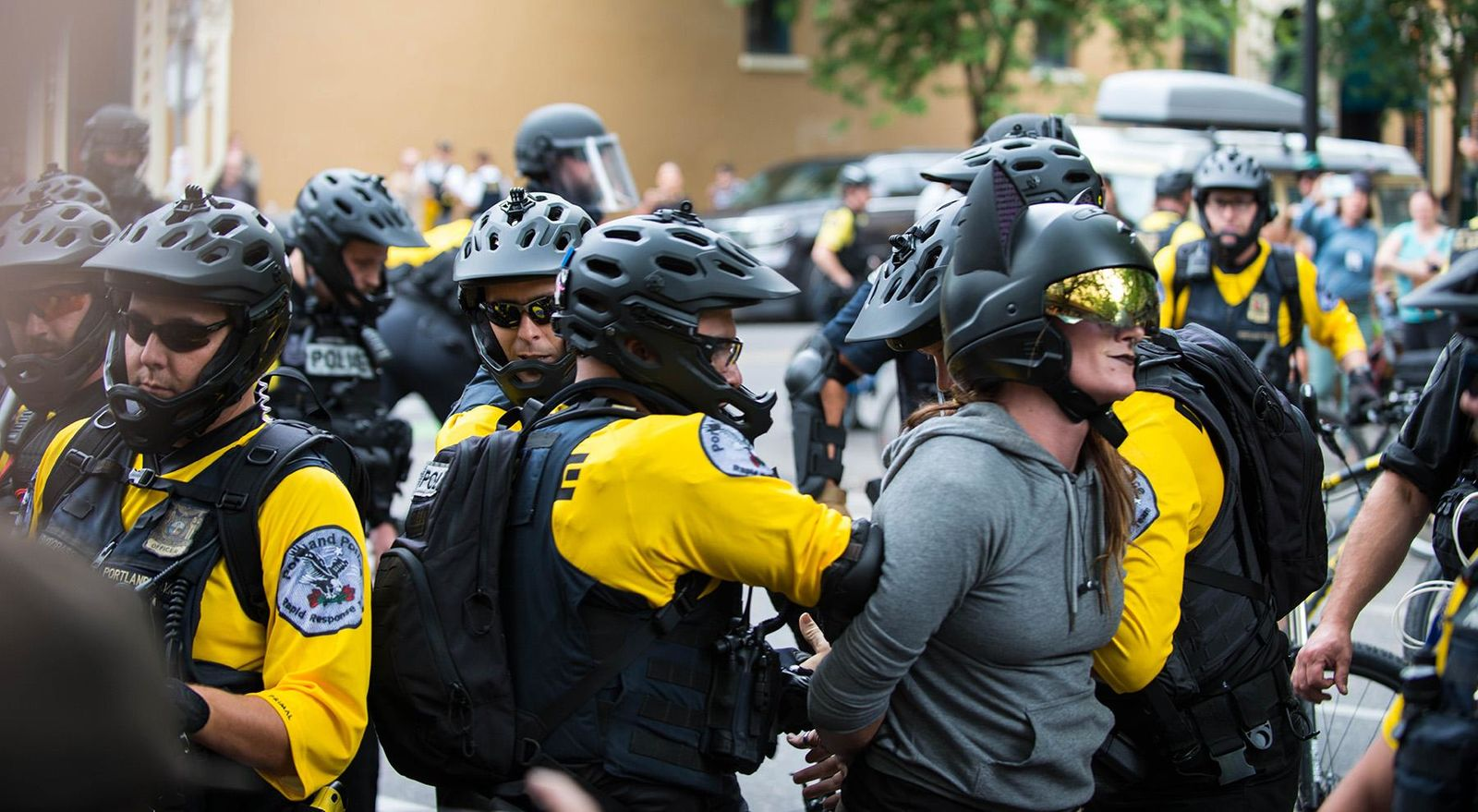 Dueling demonstrations clashed in Portland's Tom McCall Waterfront Park on Aug. 17, 2019. KATU News confirmed Proud Boys and Portland's Liberation groups are in attendance. Some people dressed in costumes to help distract demonstrators from violence. Photo by Tristan Fortsch