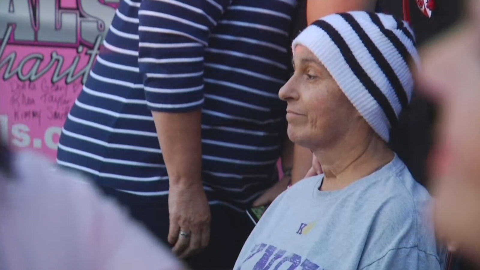 Firefighters surprised a Coventry woman who's battling cancer Thursday, Aug. 29, 2019. (WJAR)