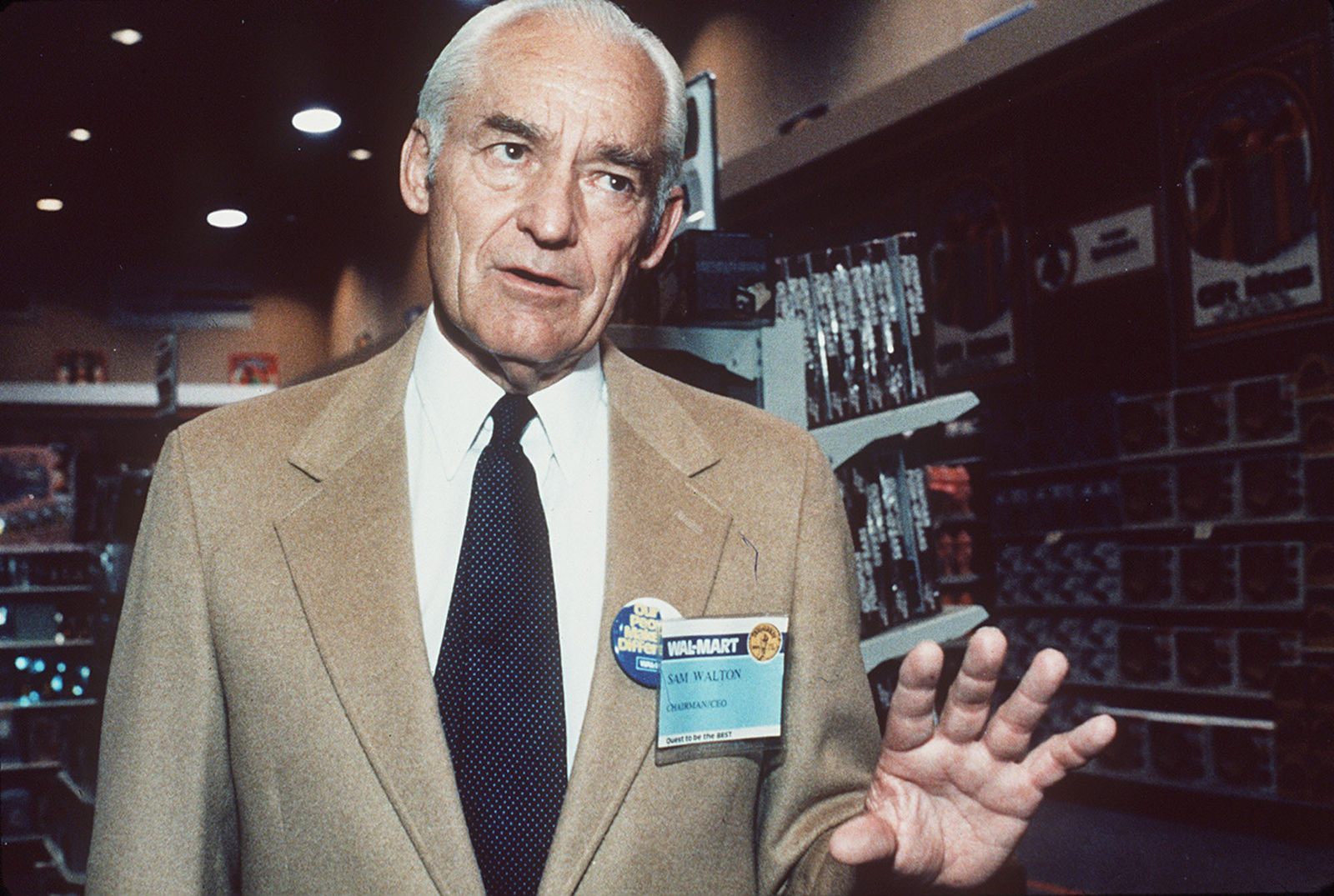 FILE- In this July 7, 1984, file photo, Sam Walton talks to reporters in Little Rock, Ark. The namesake foundation of Walton of the Walmart retail empire has been the largest supporter of privately-run, publicly-funded charter schools that have become politically polarizing. (AP Photos/Danny Johnston, File)