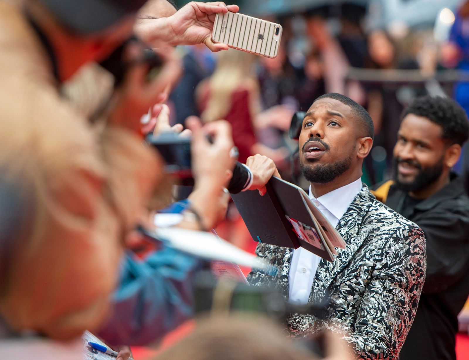 "Michael B. Jordan arrives for the Gala Premiere of the film ""Just Mercy"" at the 2019 Toronto International Film Festival on Friday, Sept. 6, 2019. (Frank Gunn/The Canadian Press via AP)"