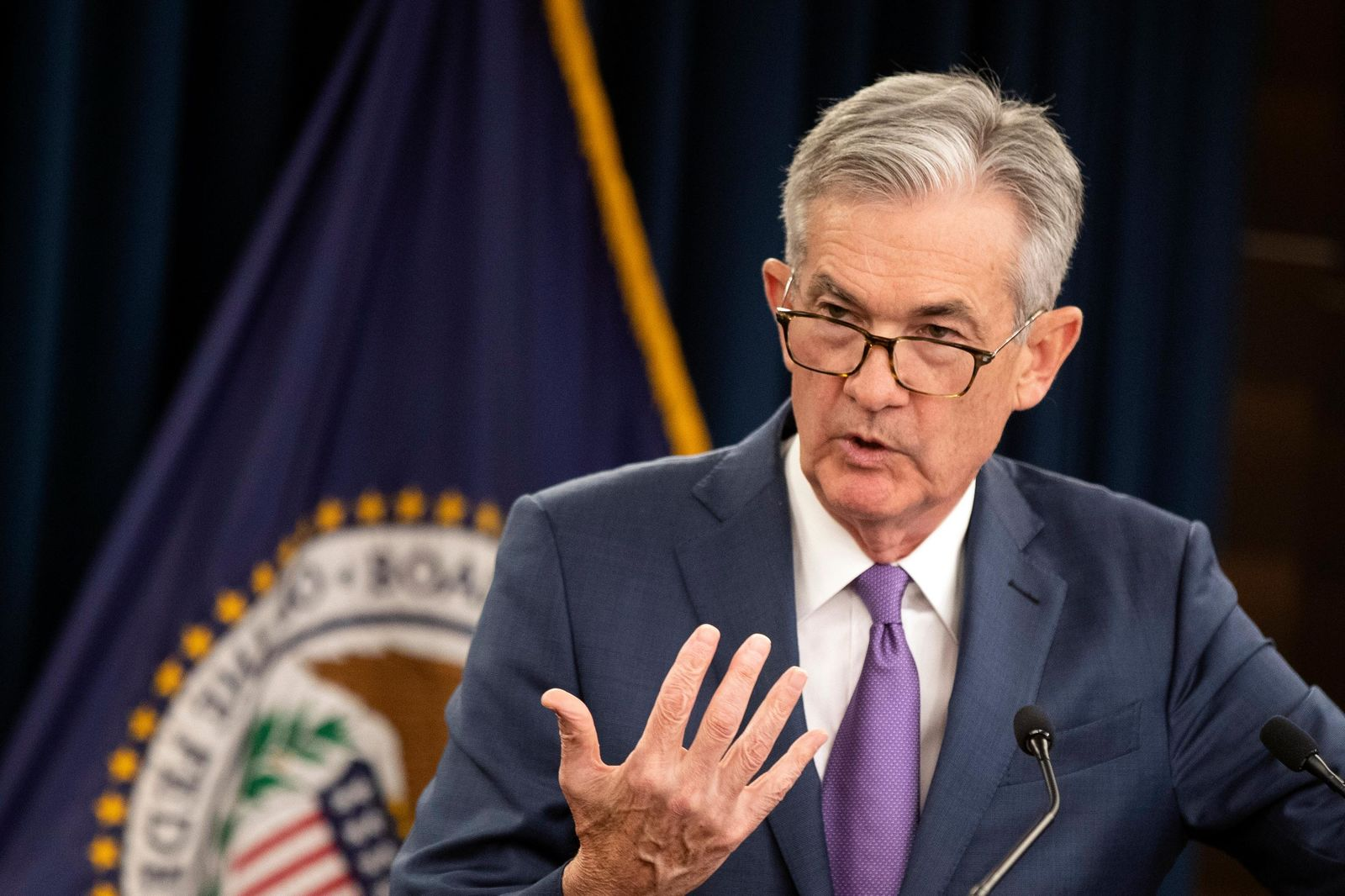 FILE - In this July 31, 2019, file photo Federal Reserve Chairman Jerome Powell speaks during a news conference following a two-day Federal Open Market Committee meeting in Washington. (AP Photo/Manuel Balce Ceneta, File)