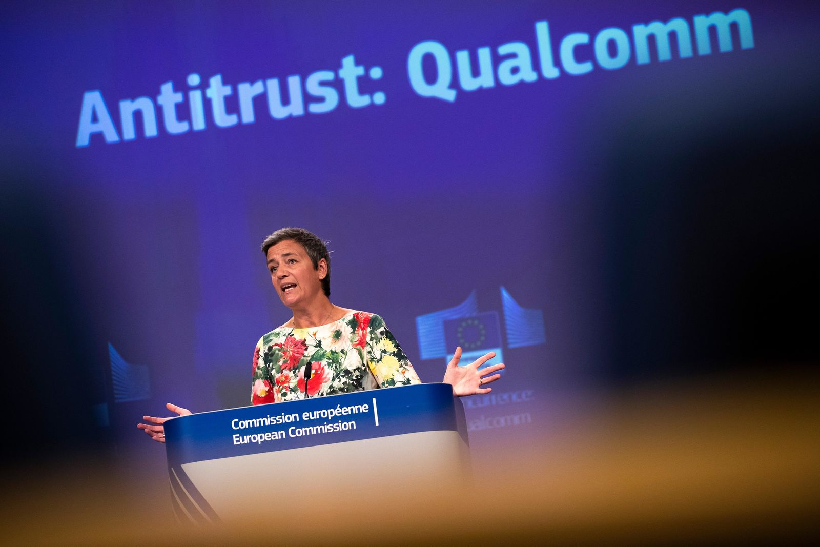 European Antitrust Commissioner Margrethe Vestager talks to journalists during a news conference at the European Commission headquarters in Brussels, Thursday, July 18, 2019.{ } (AP Photo/Francisco Seco)
