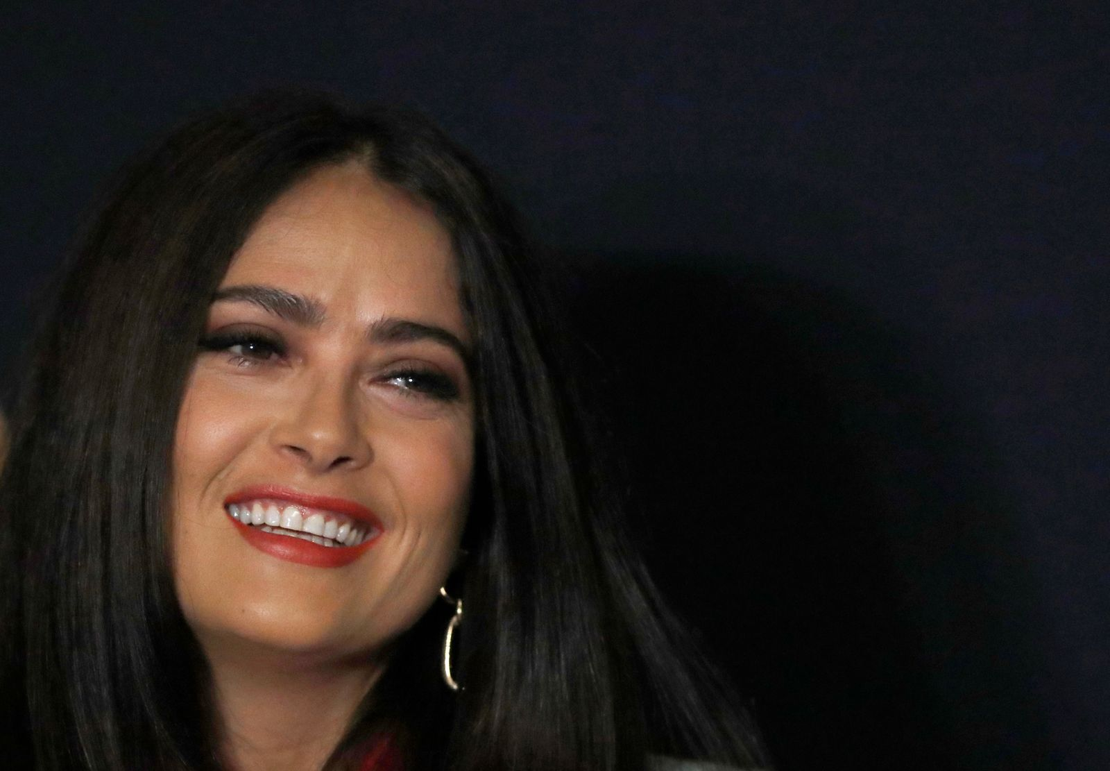 "Mexican actress and producer Salma Hayek speaks during a news conference to promote her new film ""Monarca"" in Mexico City, Tuesday, Sept. 10, 2019. Salma is a native of Veracruz, Mexico. (AP Photo/Marco Ugarte)"