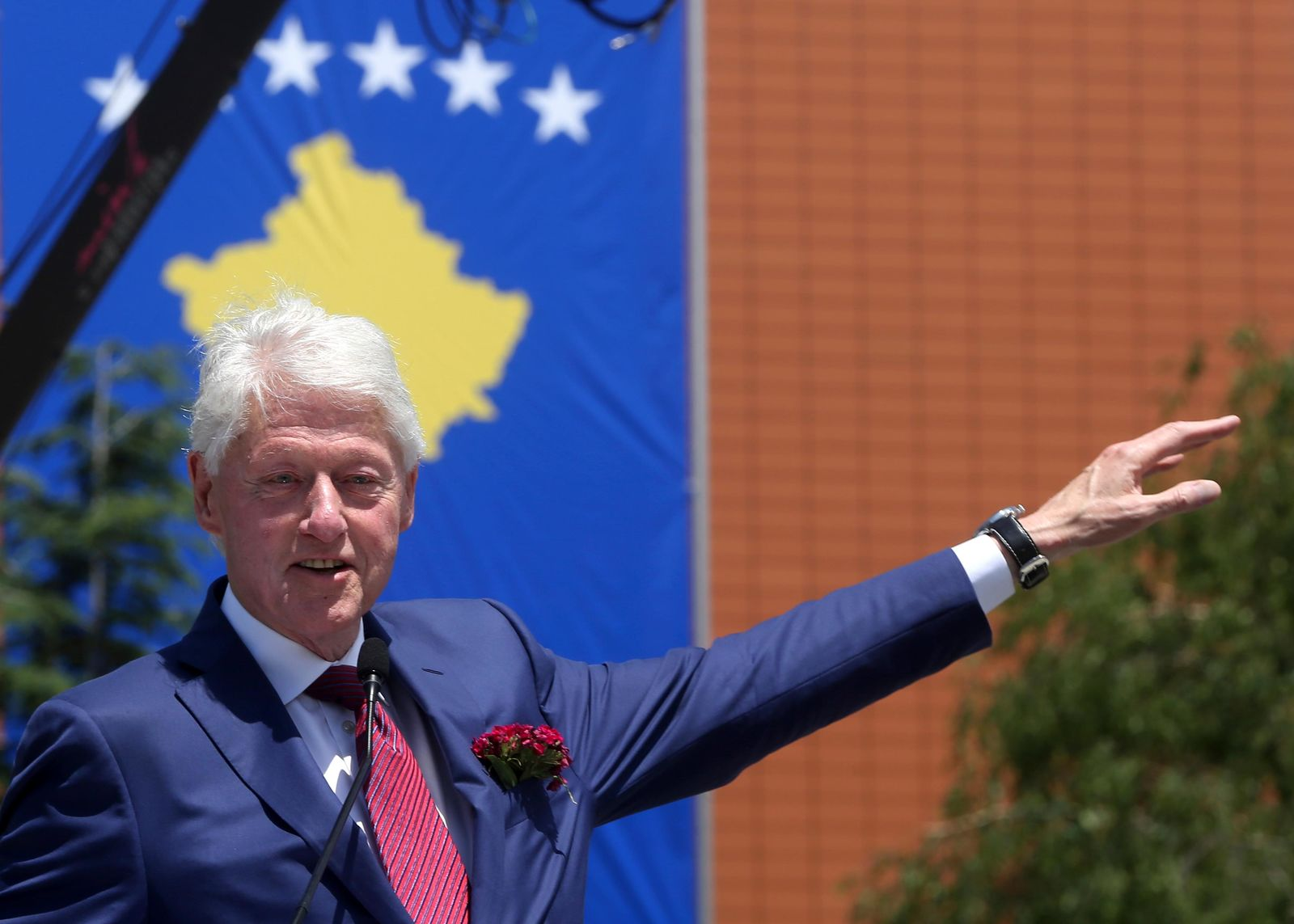 Former U.S. President Bill Clinton speaks and gestures during anniversary celebrations in the capital Pristina, Kosovo, Wednesday, June 12, 2019.{ } (AP Photo/Visar Kryeziu)