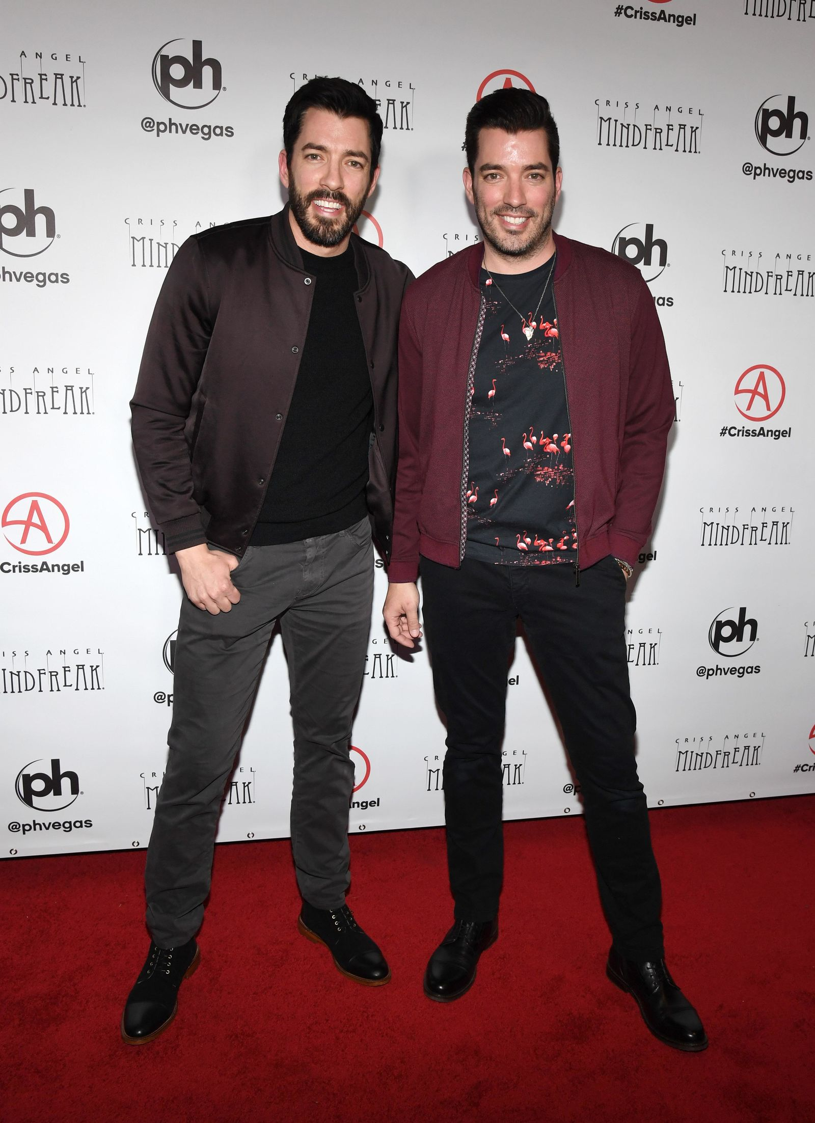"LAS VEGAS, NEVADA - JANUARY 19:  Television personalities Drew Scott (L) and Jonathan Scott attend the grand opening of ""Criss Angel MINDFREAK"" at Planet Hollywood Resort & Casino on January 19, 2019 in Las Vegas, Nevada.  (Photo by Ethan Miller/Getty Images for Planet Hollywood Resort & Casino)"