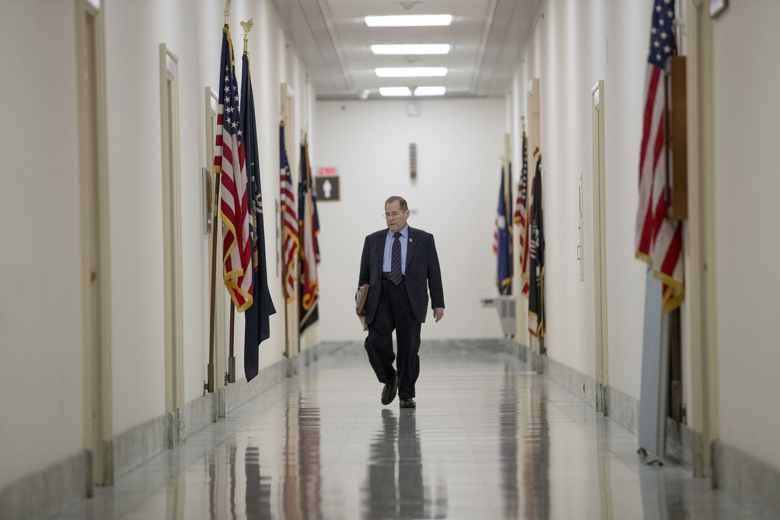 Judiciary Committee Chairman Jerrold Nadler, D-N.Y., arrives at his office before a House Judiciary Committee hearing without former White House Counsel Don McGahn, who was a key figure in special counsel Robert Mueller's investigation, on Capitol Hill in Washington. (AP Photo/Andrew Harnik)