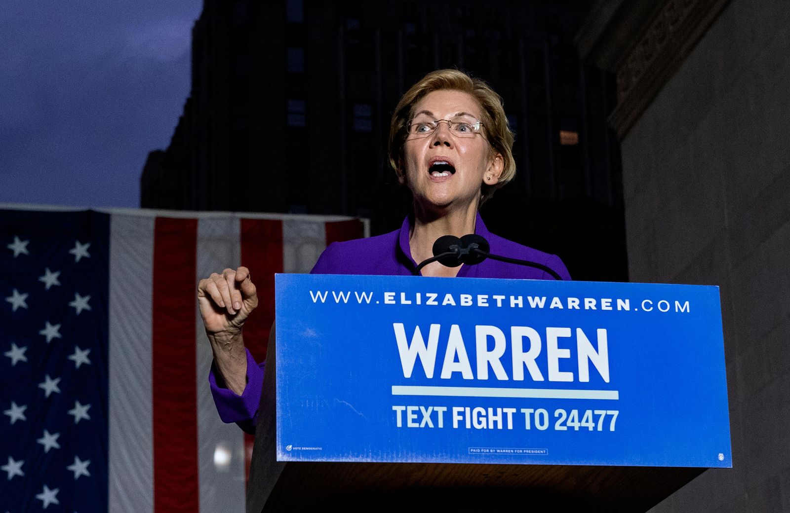 FILE- Democratic presidential candidate U.S. Sen. Elizabeth Warren addresses supporters at a rally Monday, Sept. 16, 2019, in New York. (AP Photo/Craig Ruttle)