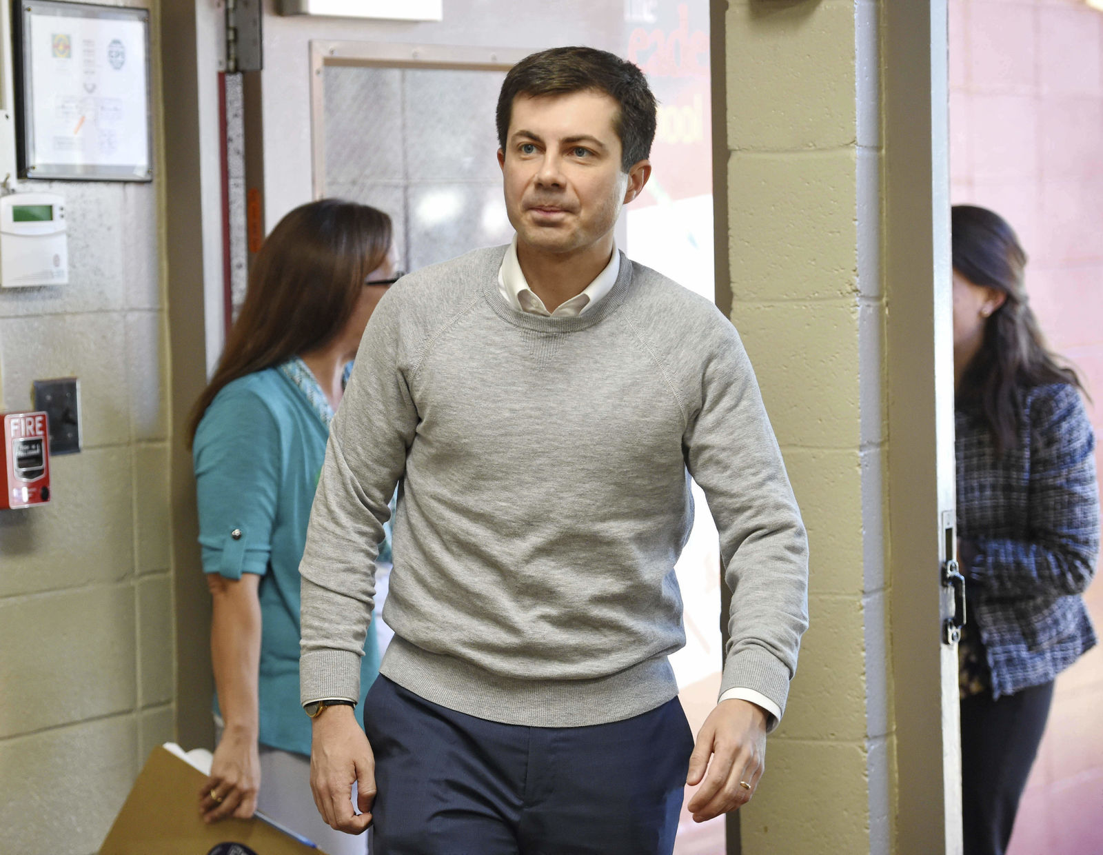 FILE - In this March 23, 2019, file photo, South Bend Mayor Pete Buttigieg arrives to speak about his presidential run during the Democratic monthly breakfast at the Circle of Friends Community Center in Greenville, S.C. (AP Photo/Richard Shiro, File)