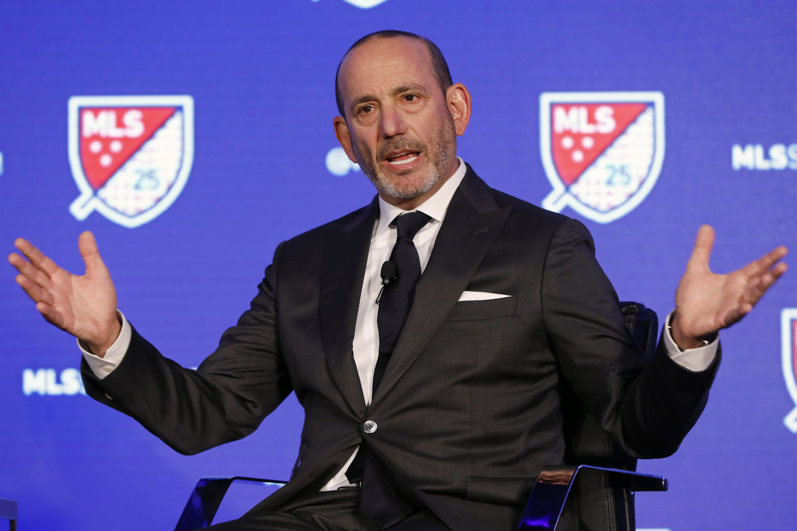FILE - In this Feb. 26, 2020, file photo, Major League Soccer Commissioner Don Garber speaks during the leagues 25th Season kickoff event in New York. (AP Photo/Richard Drew, File)