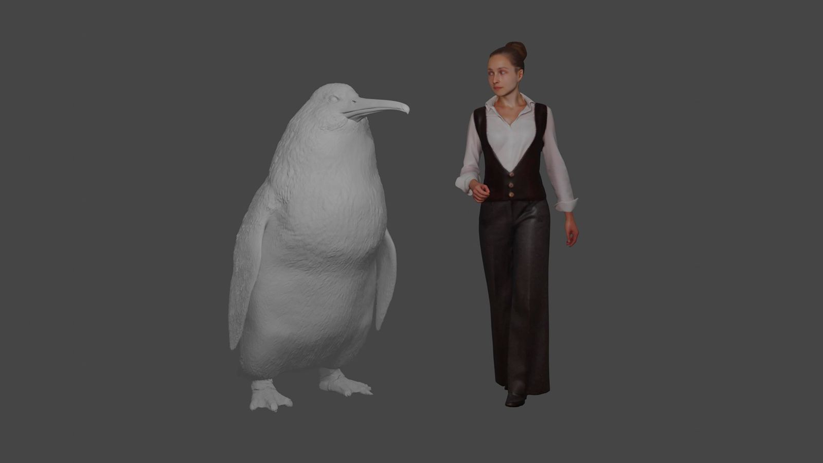 "This illustration provided by the Canterbury Museum, shows the approximate height of a giant penguin, a ""crossvallia waiparensis"" next to a human being. (Canterbury Museum via AP)"