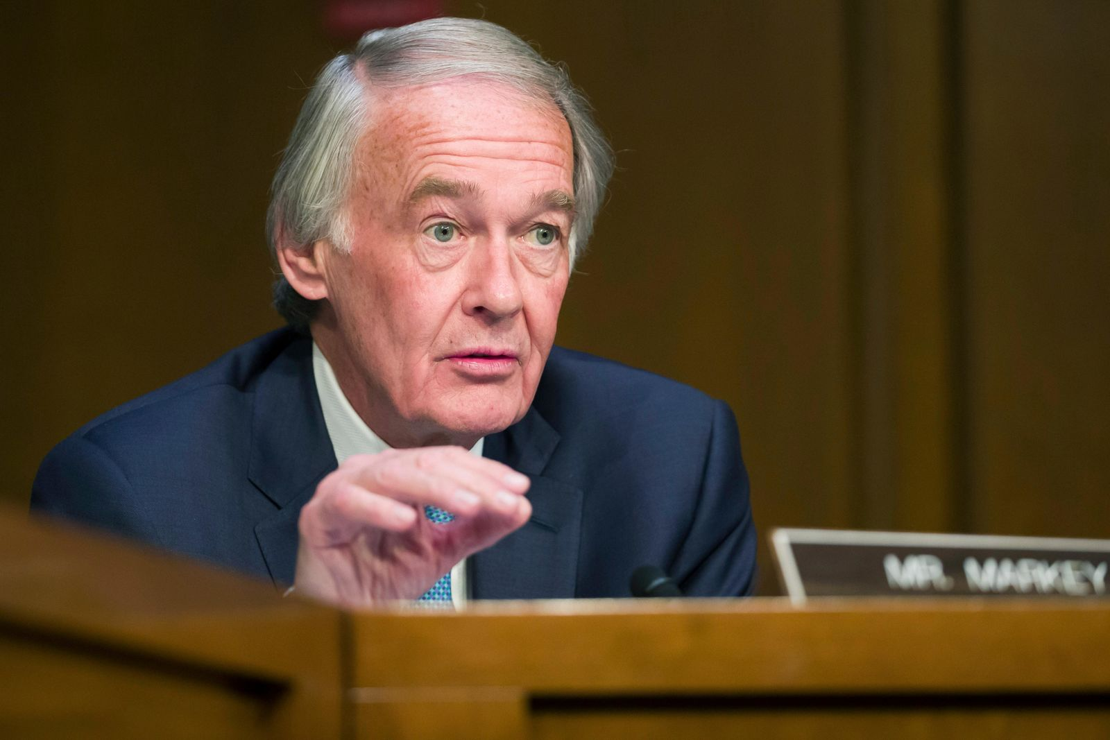 FILE - In this March 27, 2019 file photo, Sen. Ed Markey, D-Mass., speaks during a Senate Transportation subcommittee on commercial airline safety, on Capitol Hill in Washington. (AP Photo/Alex Brandon, File)