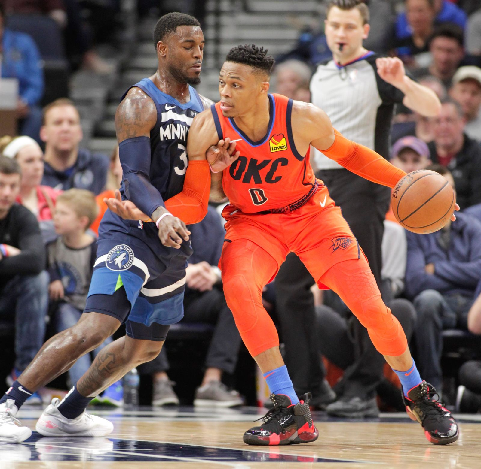 Oklahoma City Thunder guard Russell Westbrook (0) drives against Minnesota Timberwolves guard Jared Terrell (3) during the first half of a NBA basketball game Sunday, April 7, 2019, in Minneapolis. (AP Photo/Paul Battaglia)