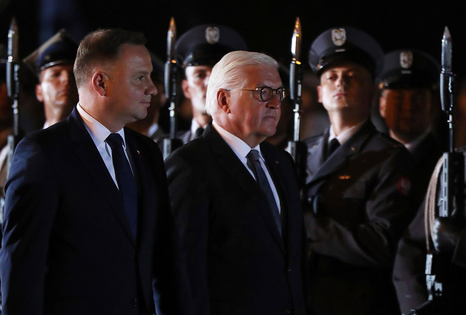 German President Frank-Walter Steinmeier, right, and Polish President Andrzej Duda, left, attend ceremony marking the 80th anniversary of World War II, in Wielun, Poland, Sunday, Sept. 1, 2019. (AP Photo/Czarek Sokolowski)