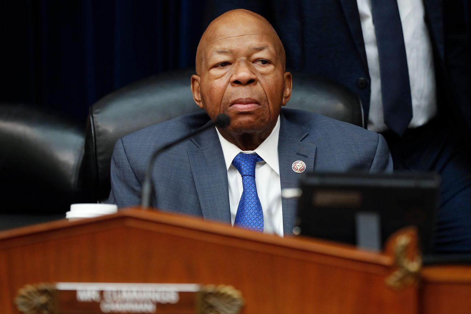 House Oversight and Reform Committee Chair Elijah Cummings, D-Md., watches during a break in testimony by Michael Cohen, President Donald Trump's former lawyer, on Capitol Hill in Washington, Wednesday, Feb. 27, 2019. (AP Photo/Pablo Martinez Monsivais)