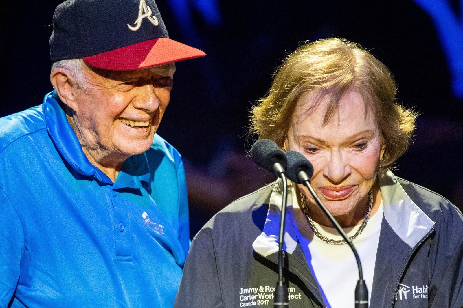Former President Jimmy Carter and former first lady Rosalynn Carter speak during the Habitat for Humanity Jimmy and Rosalynn Carter Work Project opening ceremony at the Ryman Auditorium, Sunday, Oct. 6, 2019, in Nashville, Tenn. Carter had a black eye and stitches after falling at his Georgia home on Sunday, but made it to the evening program in Nashville. (Courtney Pedroza/The Tennessean via AP)