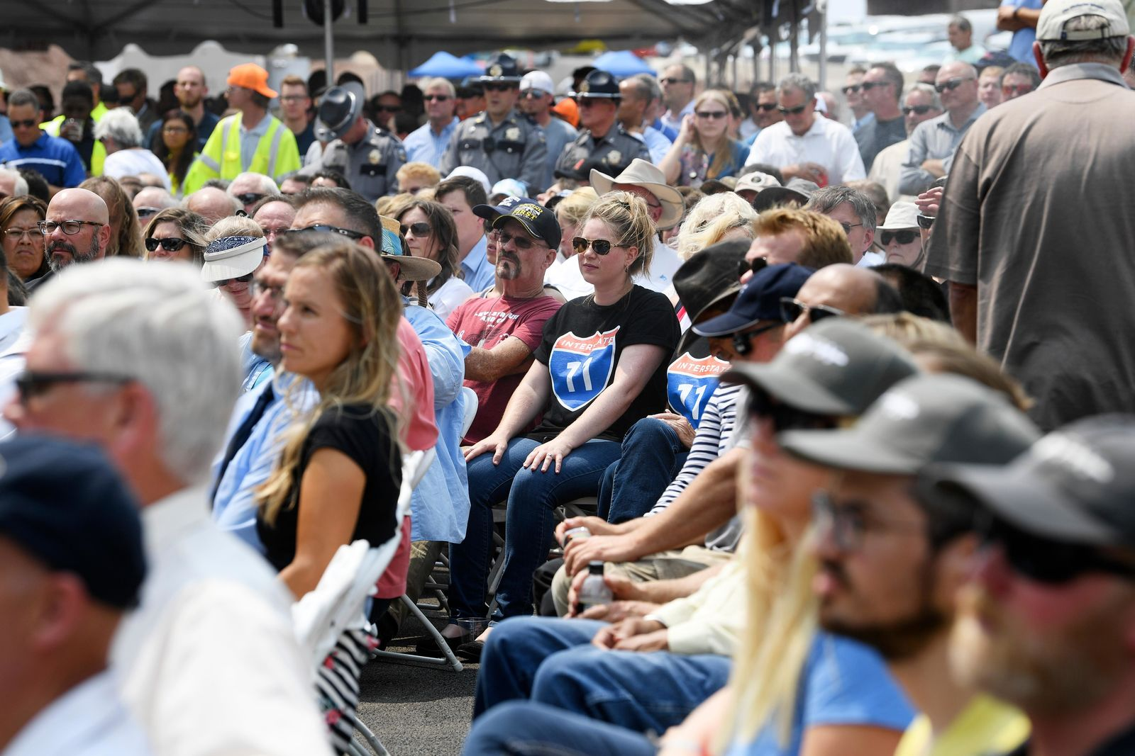 Attendees listen to speeches during the grand opening of a new section of Interstate 11 Thursday, August 9, 2018, in Boulder City. The section, also referred to as the Boulder City Bypass, marks the official start of the I-11 project between Las Vegas and Phoenix. CREDIT: Sam Morris/Las Vegas News Bureau