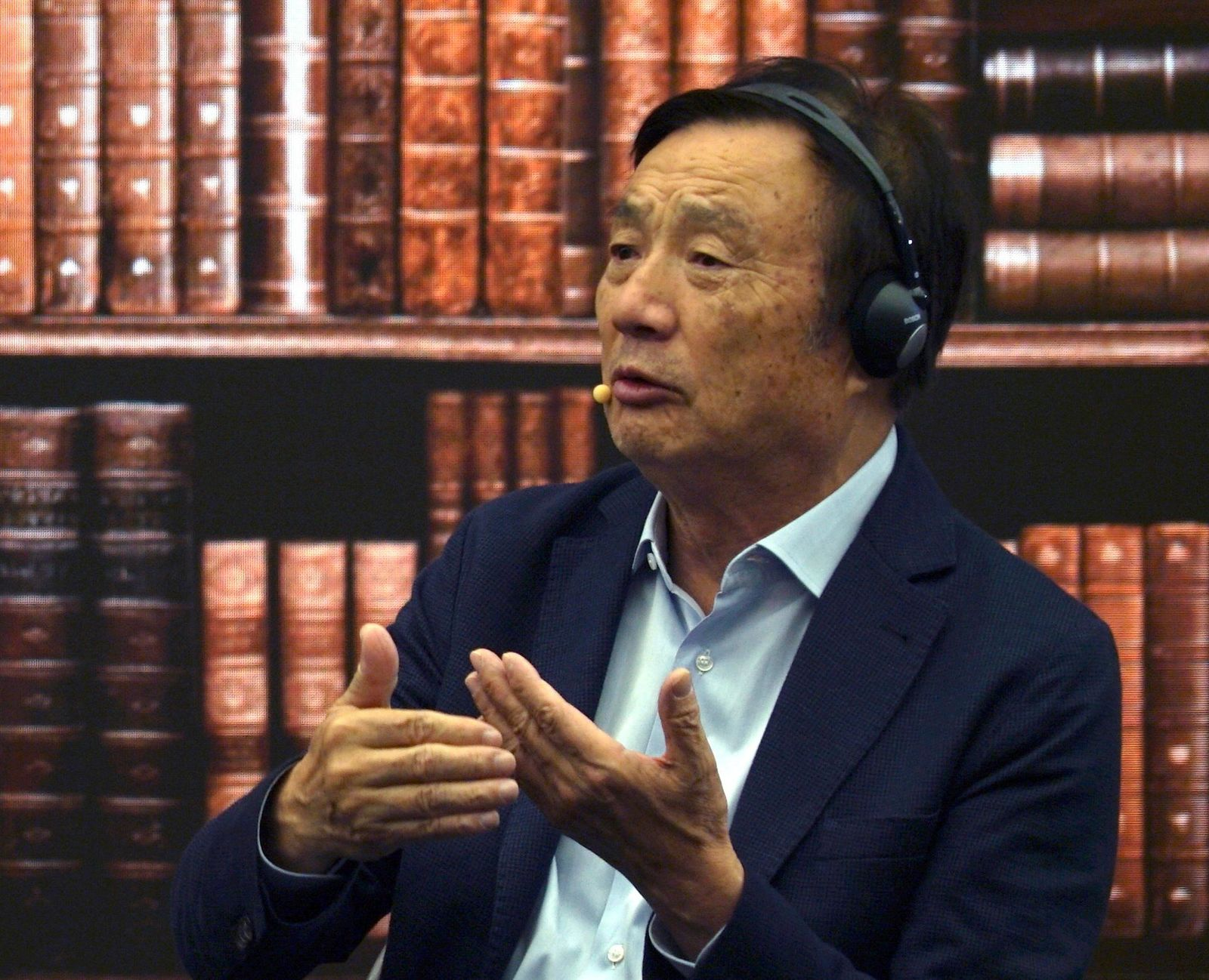 Huawei founder Ren Zhengfei speaks at a roundtable at the telecom giant's headquarters in Shenzhen in southern China on Monday, June 17, 2019.{ } (AP Photo/Dake Kang)