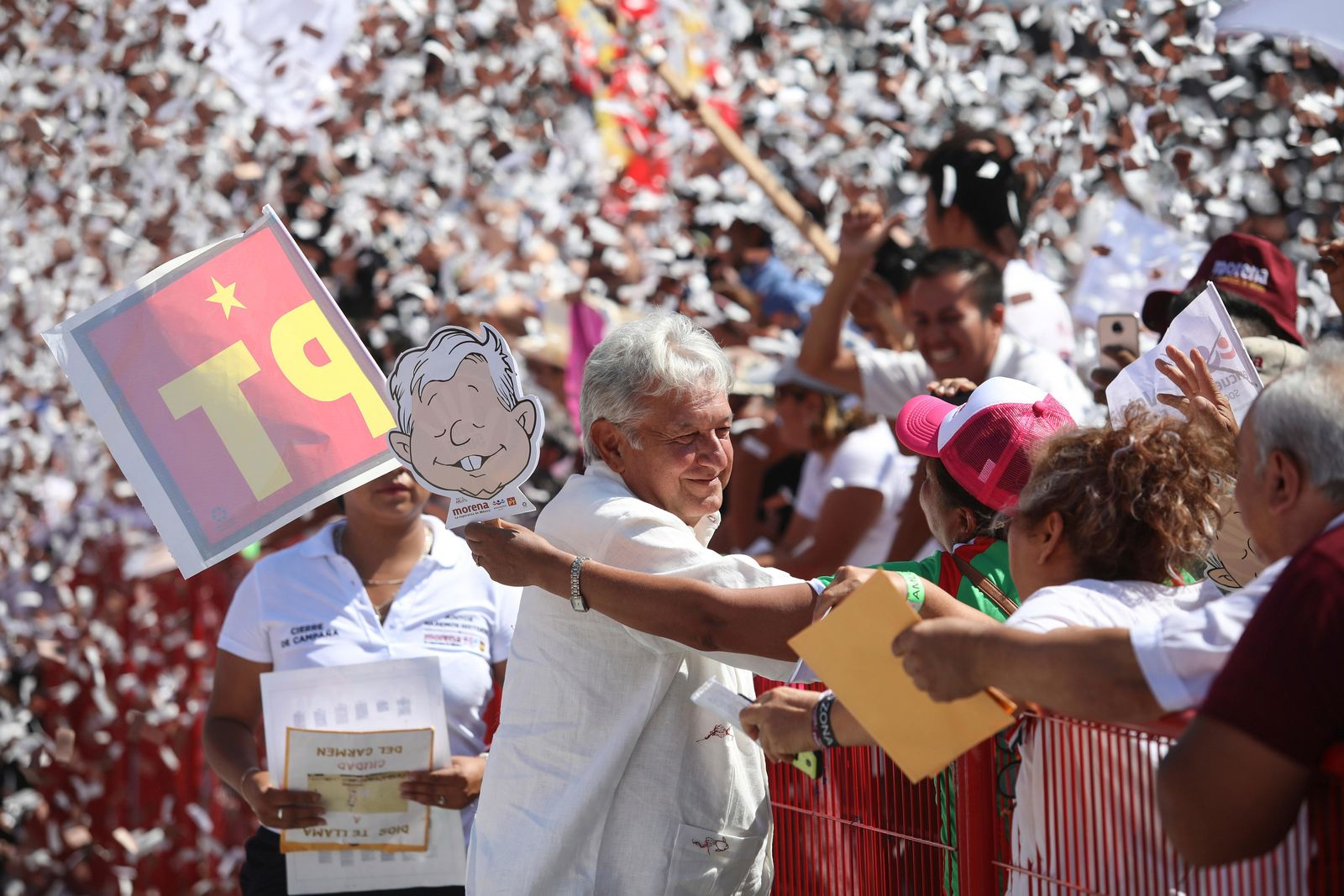 Mexico's presidential candidate Andres Manuel Lopez Obrador of the MORENA party arrives to a campaign rally in Veracruz, Mexico, Saturday, June