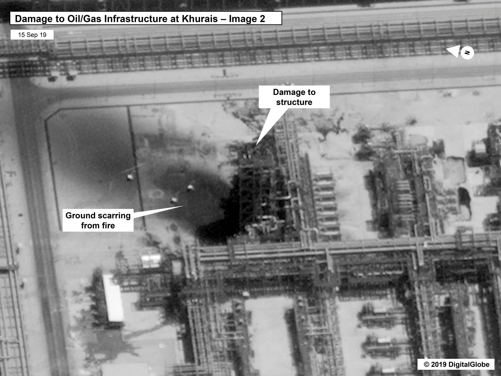 This image provided on Sunday, Sept. 15, 2019, by the U.S. government and DigitalGlobe and annotated by the source, shows damage to the infrastructure at Saudi Aramco's Kuirais oil field in Buqyaq, Saudi Arabia.{ } (U.S. government/Digital Globe via AP)