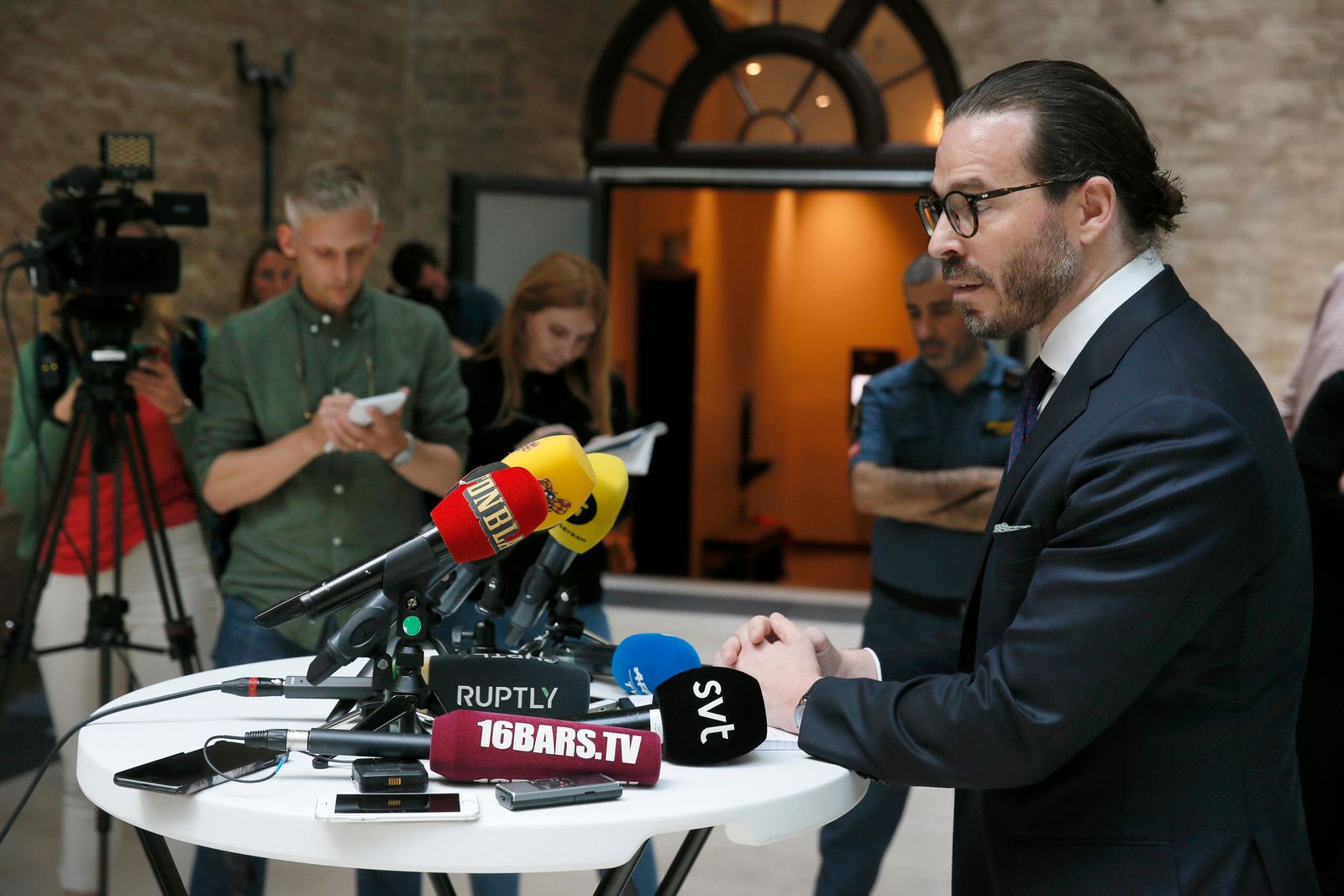 Slobodan Jovicic, lawyer for rapper A$AP Rocky, talks to the media after the arrest court proceedings in Stockholm, Friday, July 19, 2019. A Swedish prosecutor wants U.S. rapper A$AP Rocky held for another week in pre-trial detention to allow police to finish investigating a June 30 fight in Stockholm. (Fredrik Persson/TT News Agency via AP)