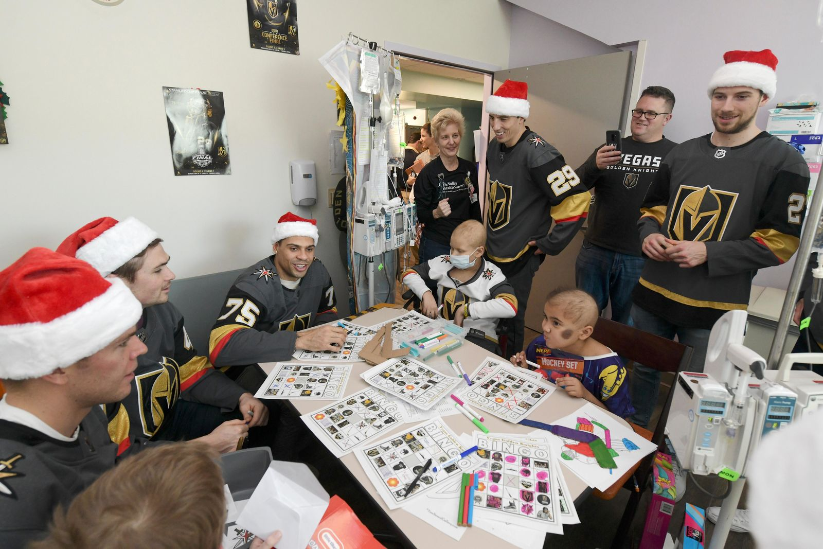 Vegas Golden Knights players visit young patients and play bingo during a visit to Summerlin Hospital Friday, December 21, 2018. CREDIT: Sam Morris/Las Vegas News Bureau