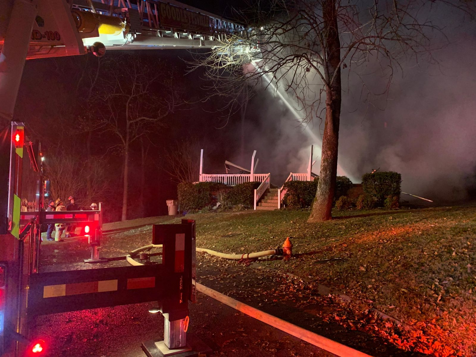 (WZTV photo) Goodlettsville home completely destroyed after early morning house fire.