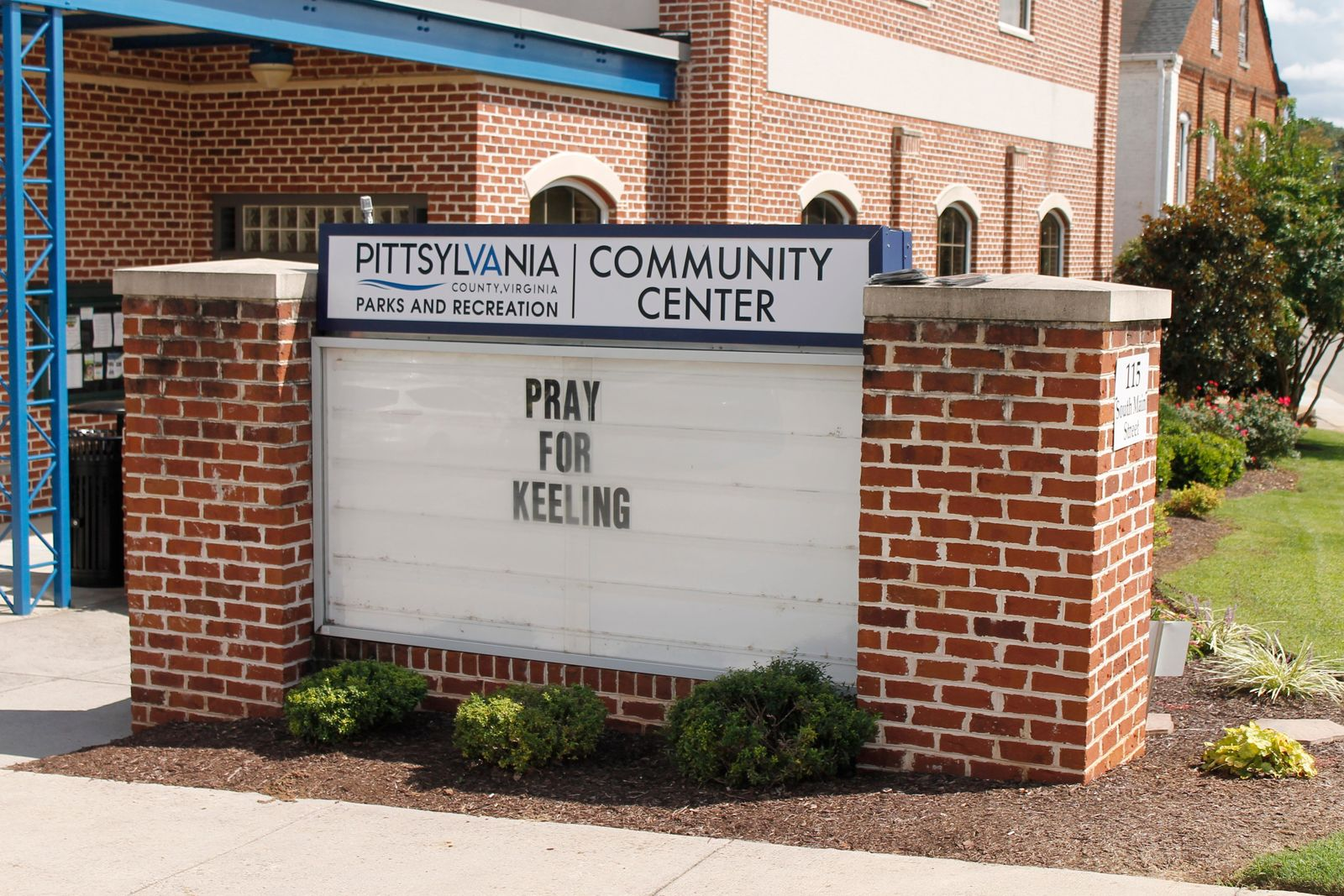 A sign in front of the Pittsylvania County Community Center in Chatham, Virginia, on Wednesday, Aug. 28, 2019, expresses a call for prayers for the small town of Keeling, Virginia, where three people were shot and killed on Aug. 27. (AP Photo/Skip Foreman)