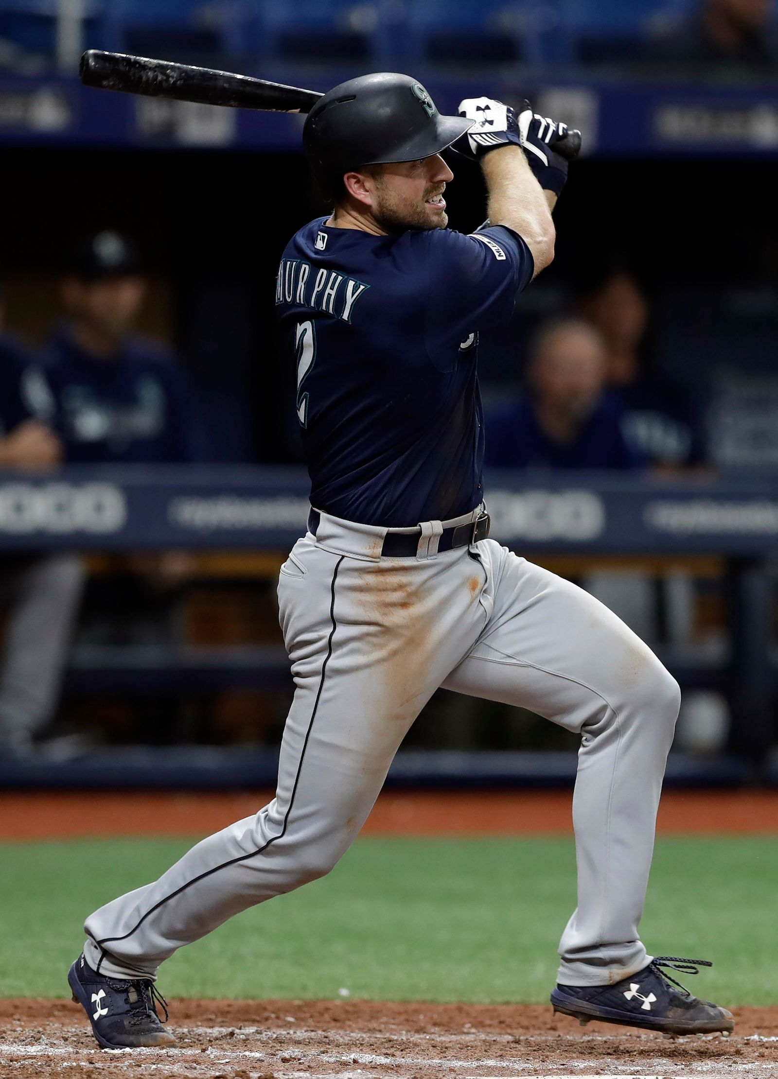 Seattle Mariners' Tom Murphy lines a single off Tampa Bay Rays relief pitcher Nick Anderson during the seventh inning of a baseball game Monday, Aug. 19, 2019, in St. Petersburg, Fla. (AP Photo/Chris O'Meara)