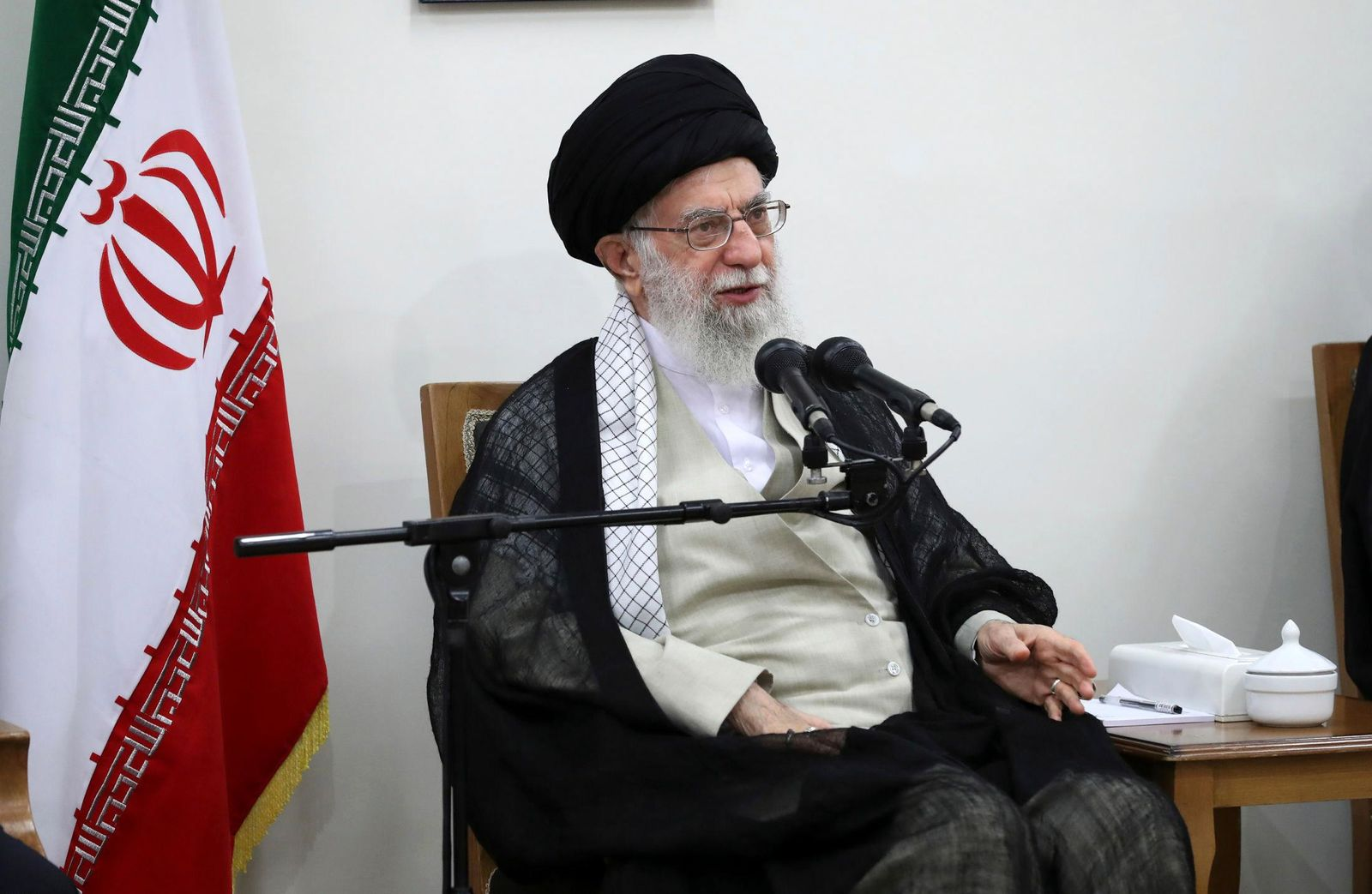 In this picture released on Wednesday, June 19, 2019, by the official website of the office of the Iranian supreme leader, Supreme Leader Ayatollah Ali Khamenei speaks in a meeting at his residence in Tehran, Iran. (Office of the Iranian Supreme Leader via AP)