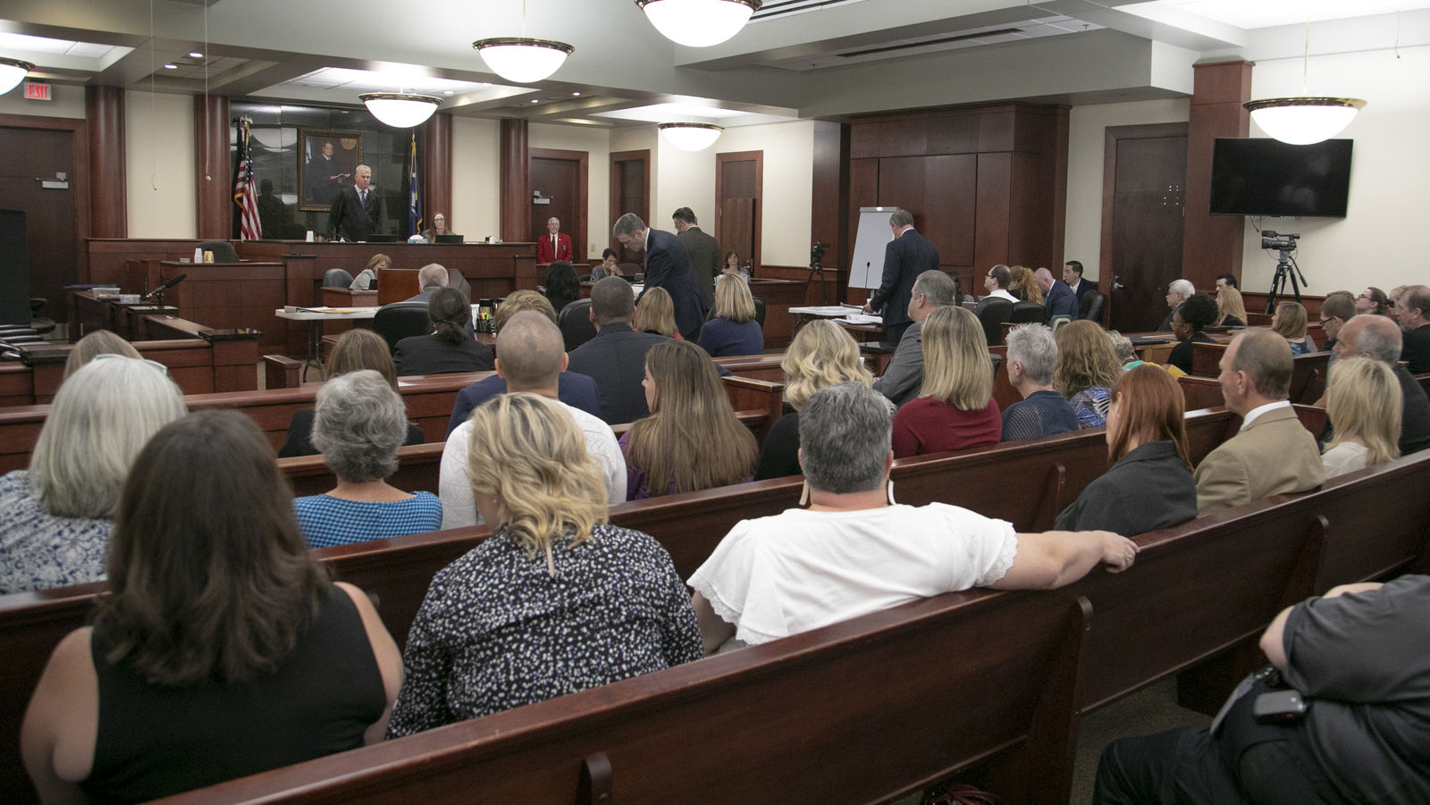 People from Saxe Gotha Elementary School fill the courtroom during the sentencing phase of the trial of Timothy Jones Jr. in Lexington, S.C. on Thursday, June 13, 2019.  Jones, Jr. was found guilty of killing his five young children in 2014. (Tracy Glantz/The State via AP, Pool)
