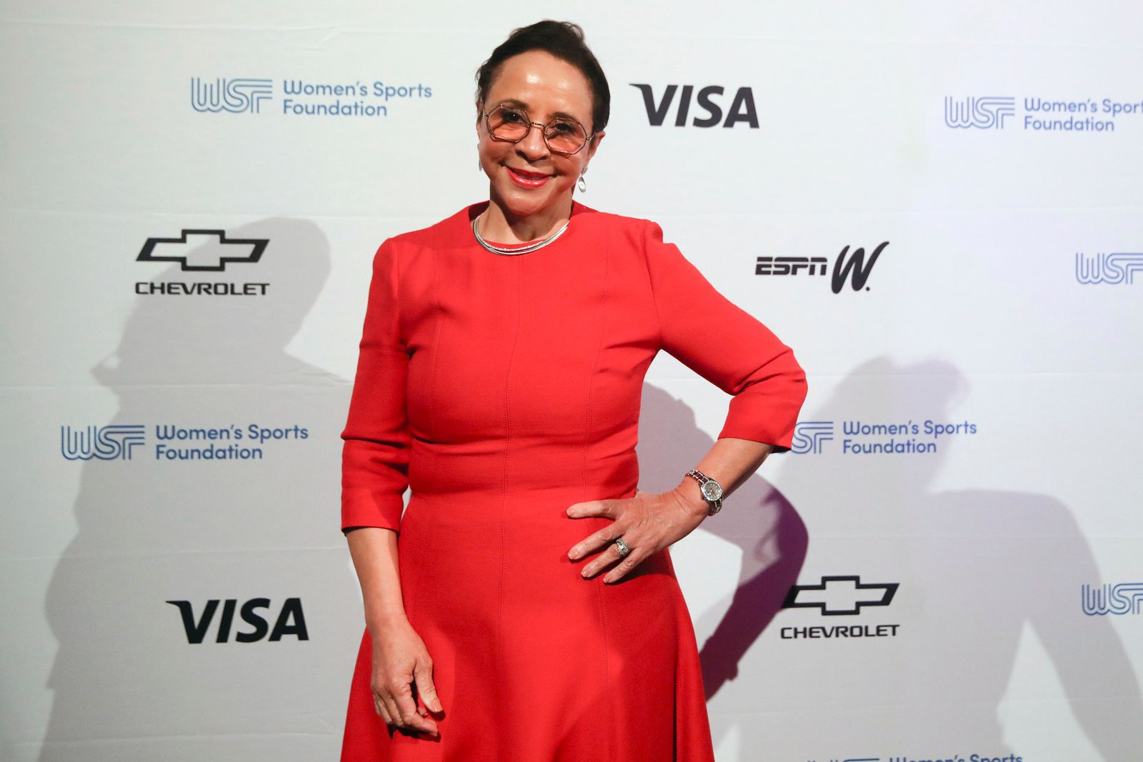 In this Wednesday, Oct. 16, 2019, photo businesswoman Sheila C. Johnson poses for photos on the red carpet of the Women's Sports Foundation's 40th annual Salute to Women in Sports in New York. Johnson, part-owner of the Washington Wizards, Capitals and recent WNBA champion Mystics, won the Billie Jean King Leadership Award. (AP Photo/Mary Altaffer)