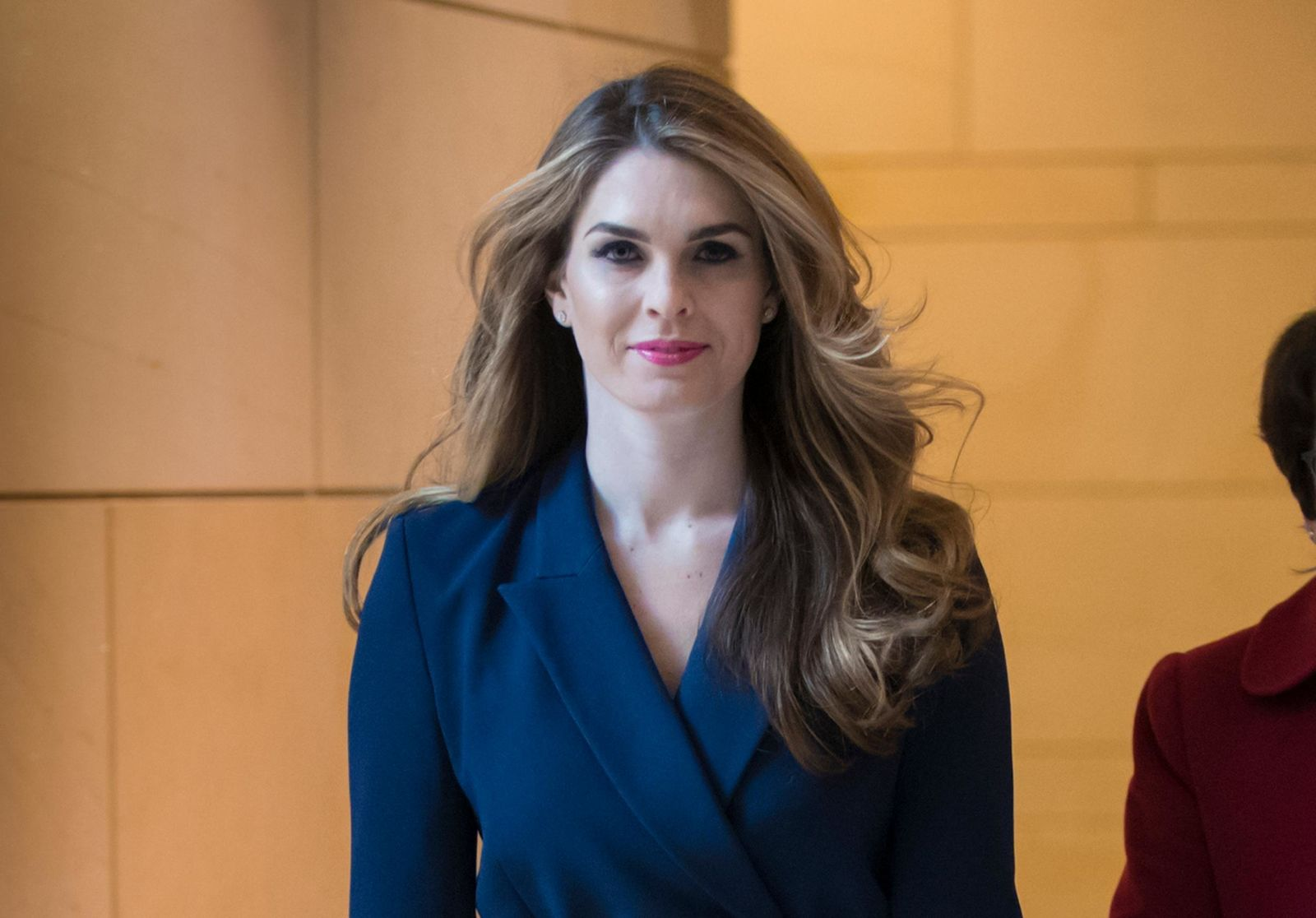 FILE - In this Feb. 27, 2018 photo, then-White House Communications Director Hope Hicks arrives to meet behind closed doors with the House Intelligence Committee, at the Capitol in Washington.{ } (AP Photo/J. Scott Applewhite, File)