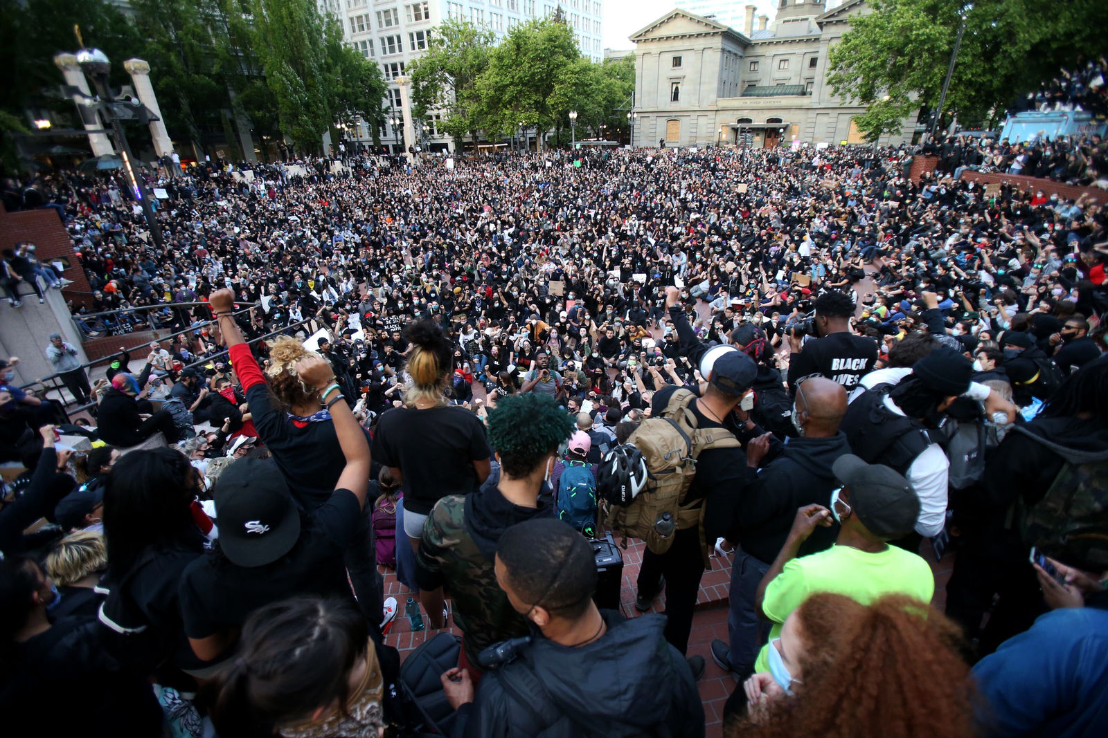FILE - In this June 2, 2020, file photo, a crowd gathers in Pioneer Square in downtown Portland, Ore., as protests continued against the death of George Floyd. (Sean Meagher/The Oregonian via AP, File)